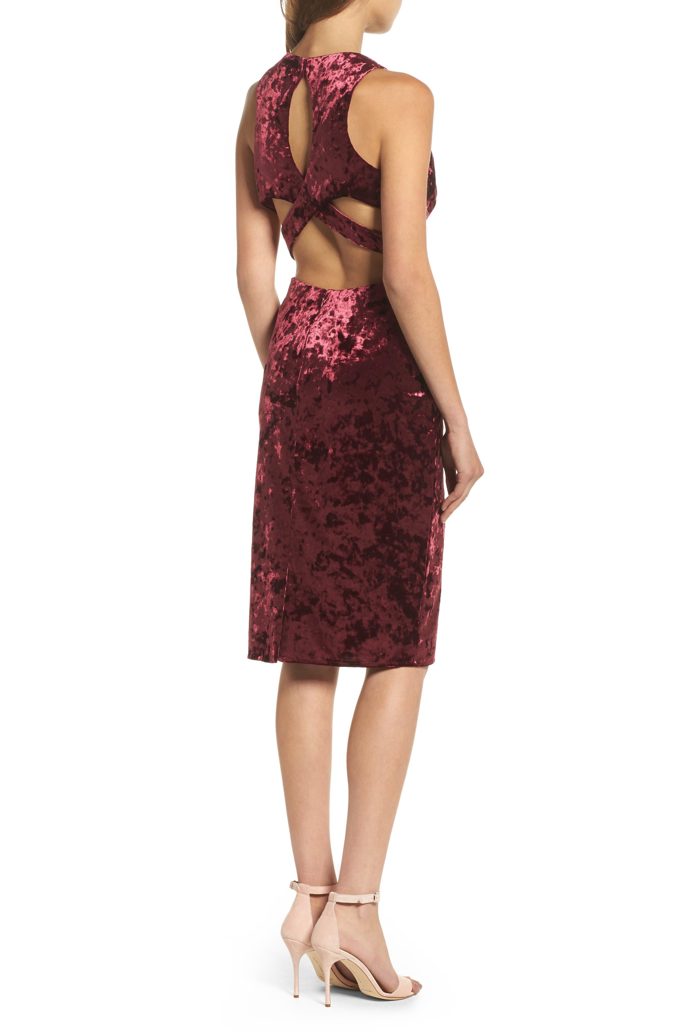 Cutout Back Velvet Sheath Dress,                             Alternate thumbnail 2, color,                             Burgundy