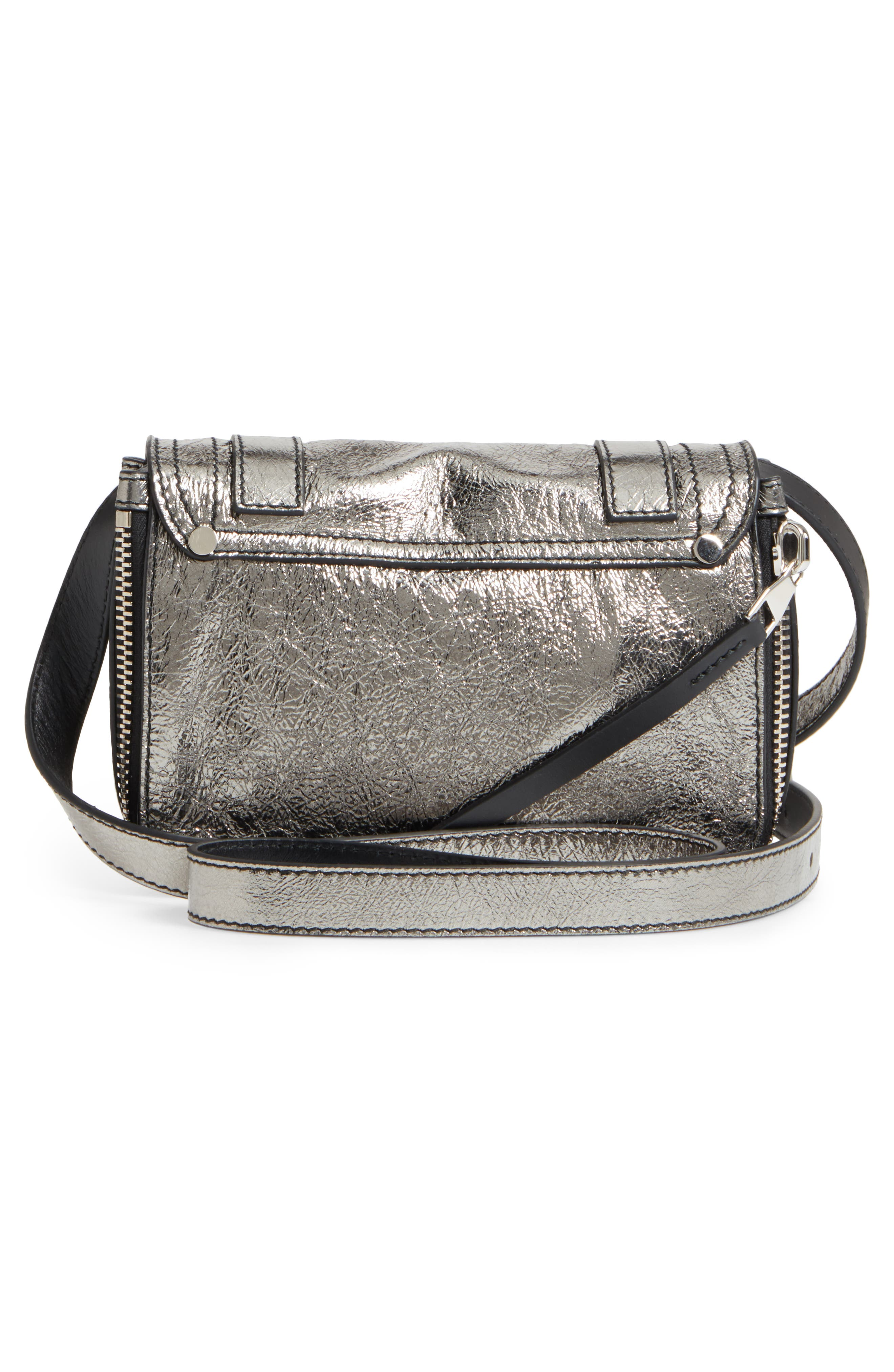 Mini PS1 Metallic Leather Crossbody Bag,                             Alternate thumbnail 3, color,                             Dark Silver
