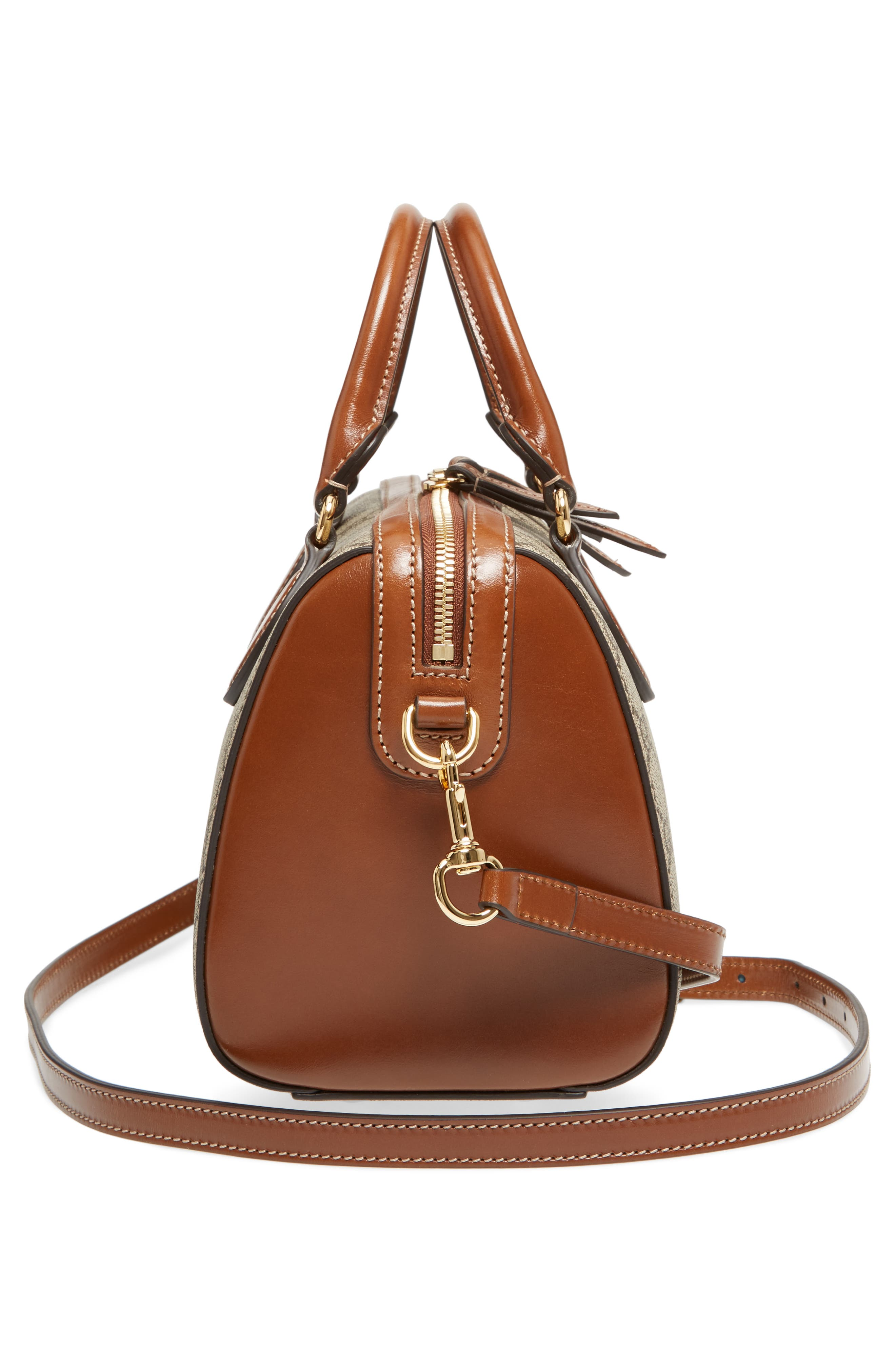 Linea Top Handle GG Supreme Canvas & Leather Bag,                             Alternate thumbnail 5, color,                             Beige/ Ebony/ Cuir