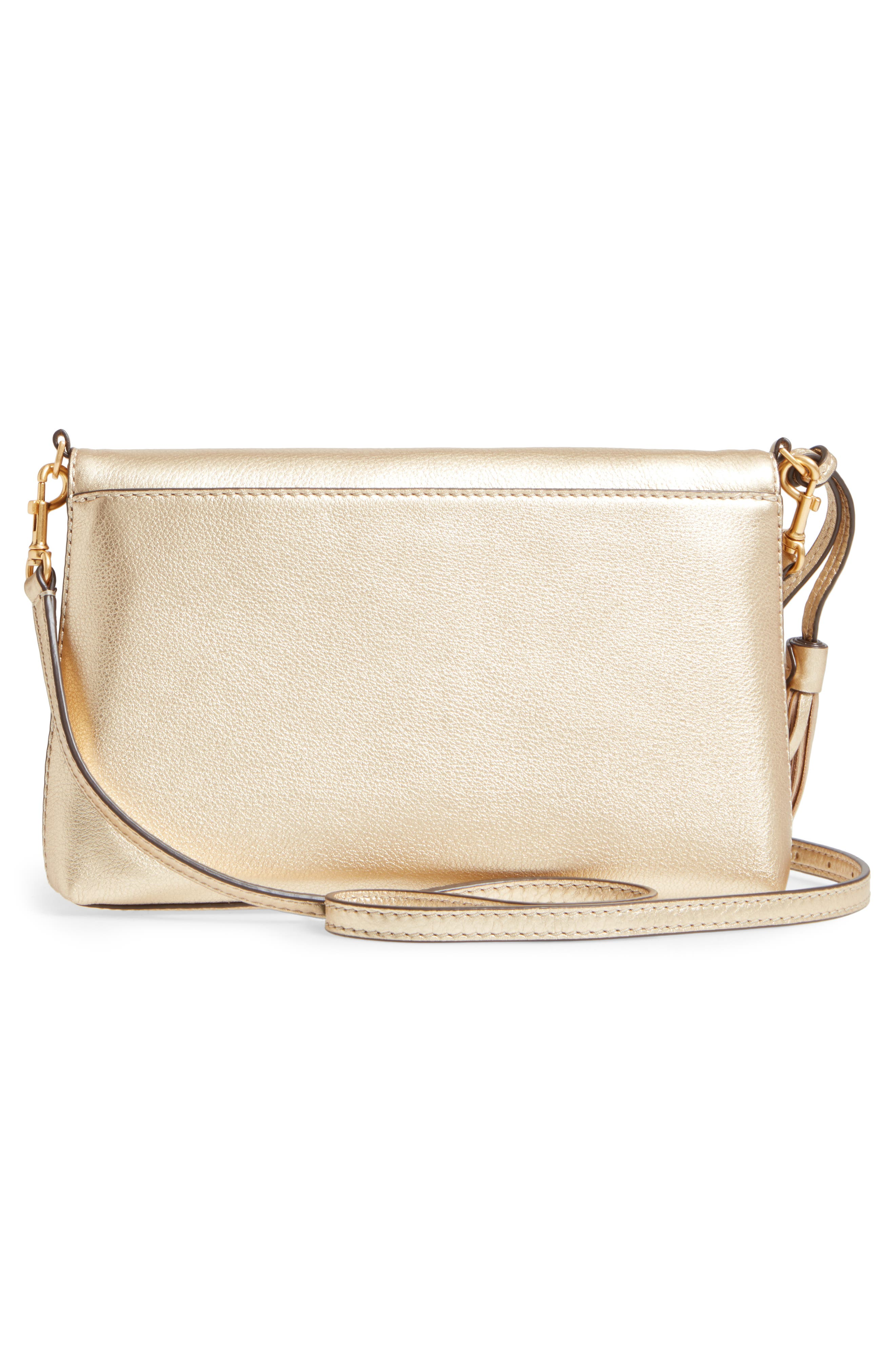 McGraw Metallic Leather Crossbody Bag,                             Alternate thumbnail 3, color,                             Gold