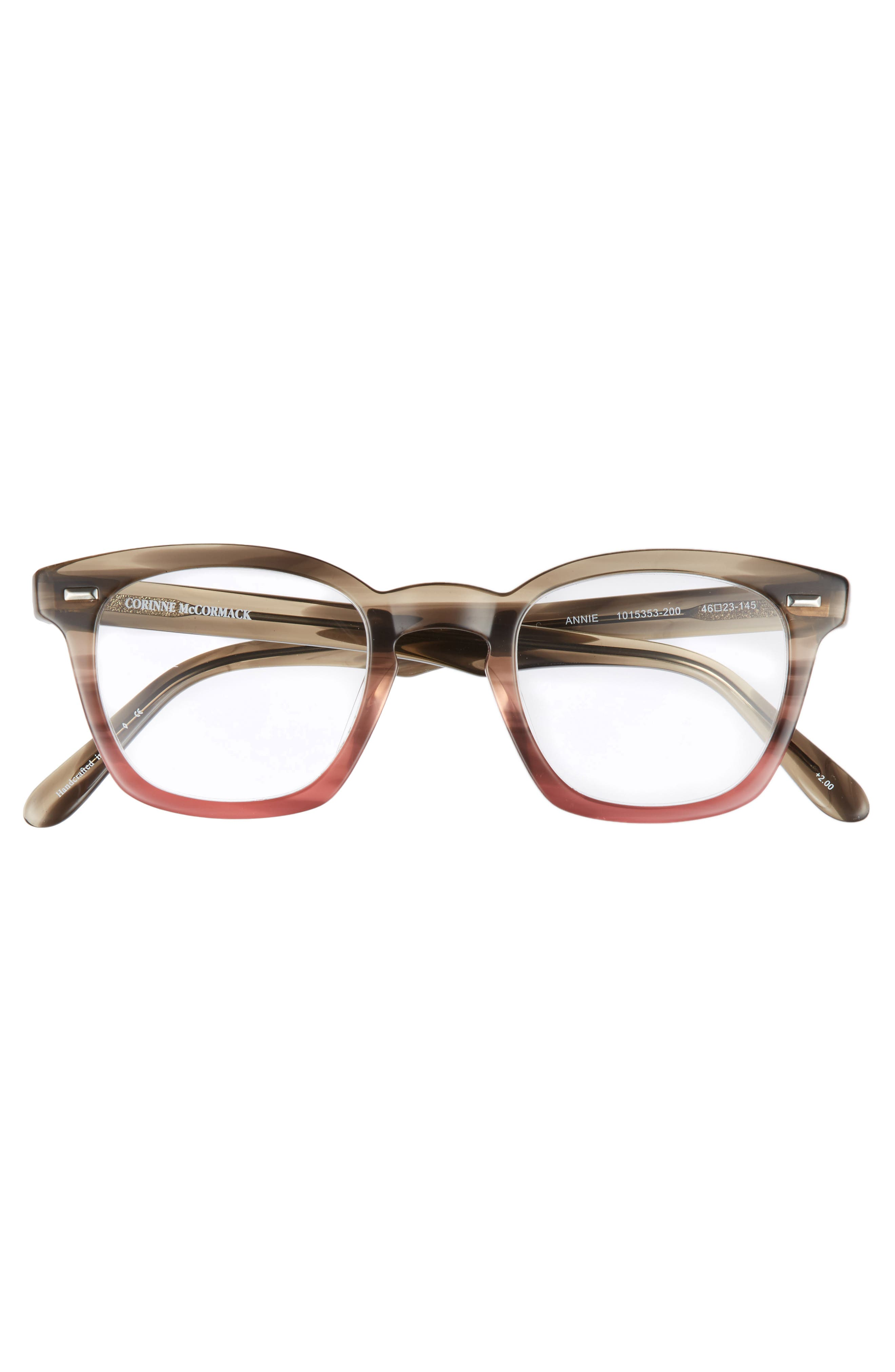 Annie 46mm Reading Glasses,                             Alternate thumbnail 3, color,                             Taupe Fade Berry