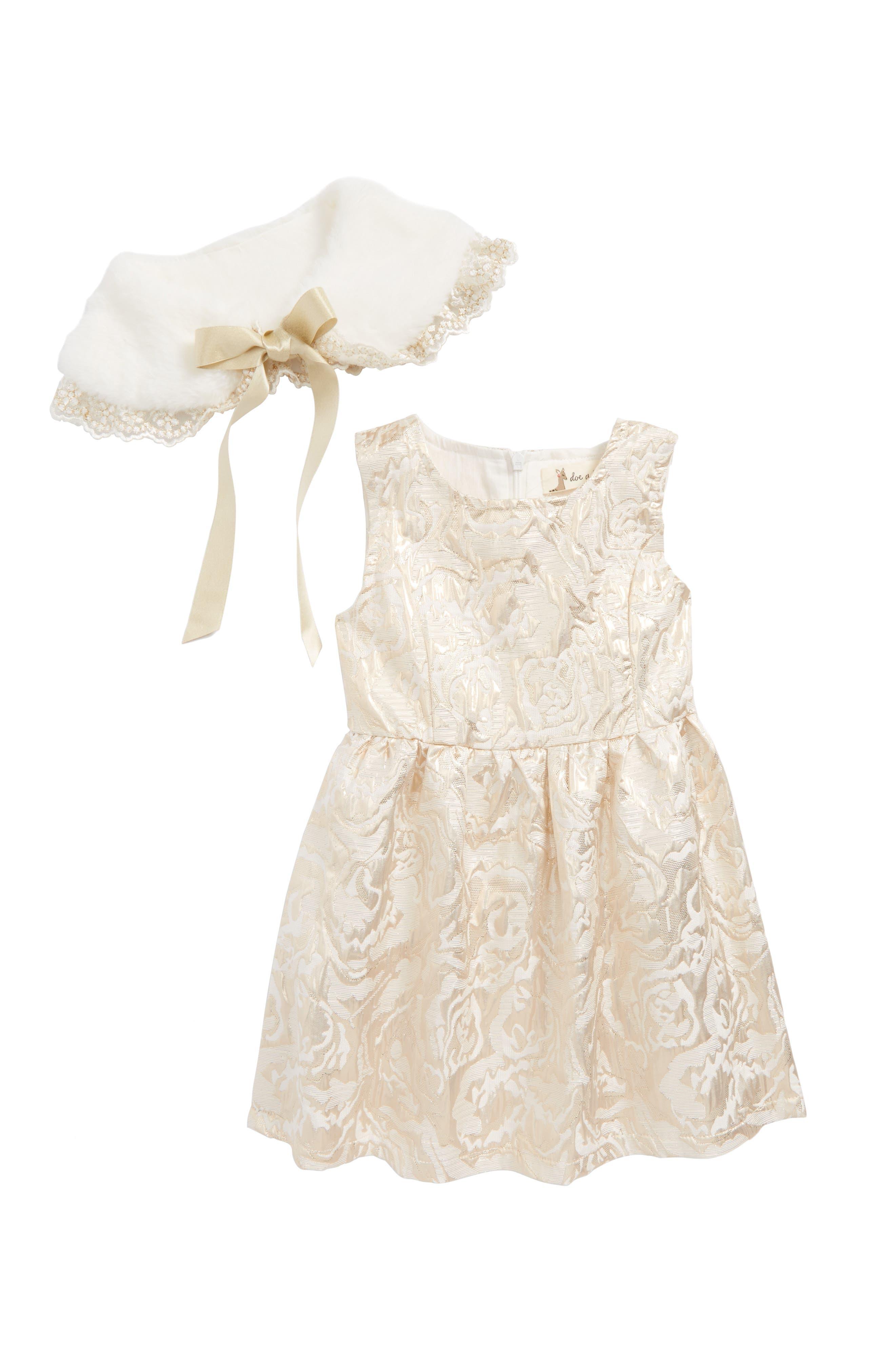 Alternate Image 2  - Doe a Dear Metallic Jacquard Skater Dress with Faux Fux Collar (Toddler Girls, Little Girls & Big Girls)