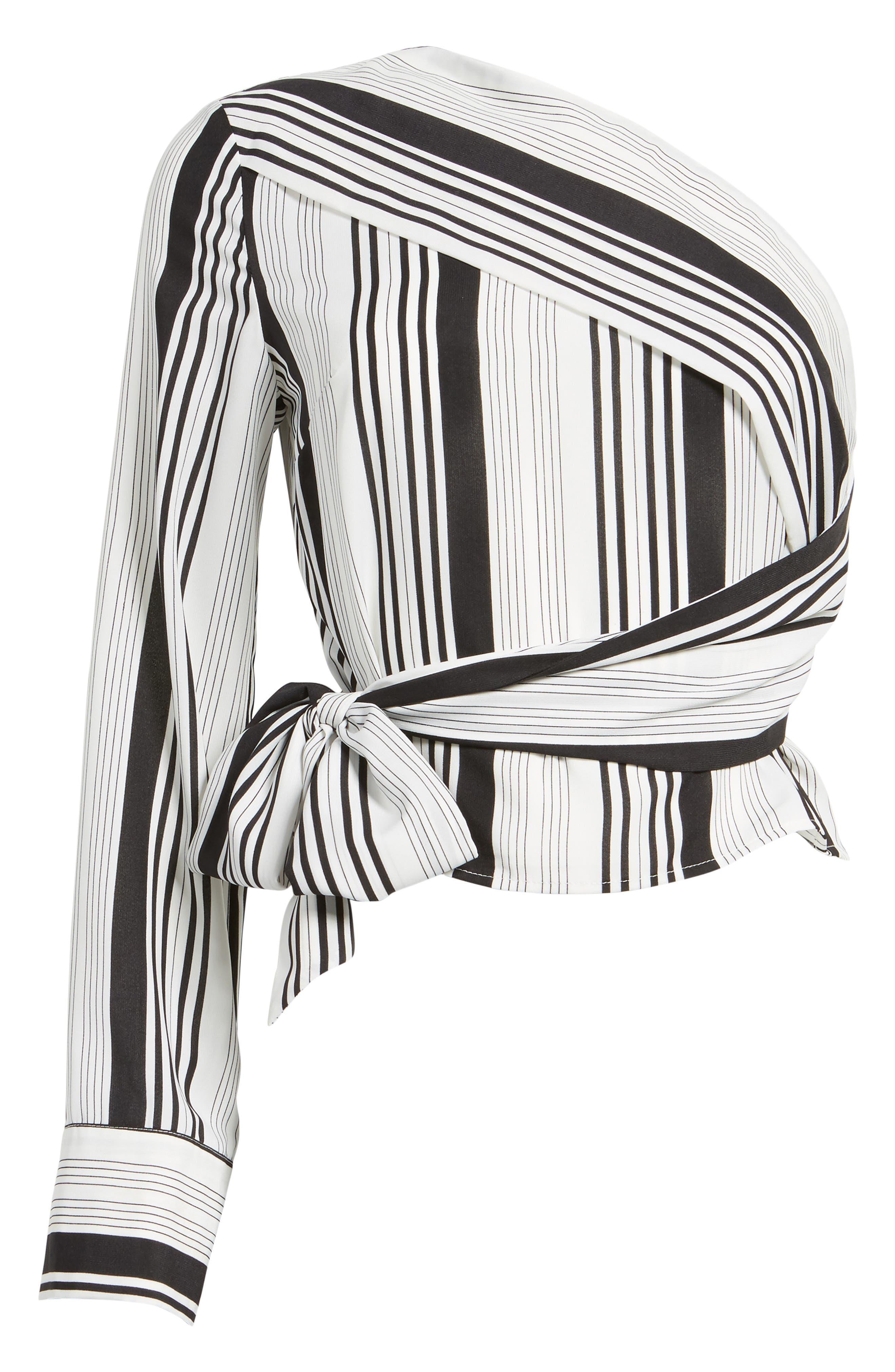 One-Shoulder Tie Waist Shirt,                             Alternate thumbnail 6, color,                             Black/ White Stripe