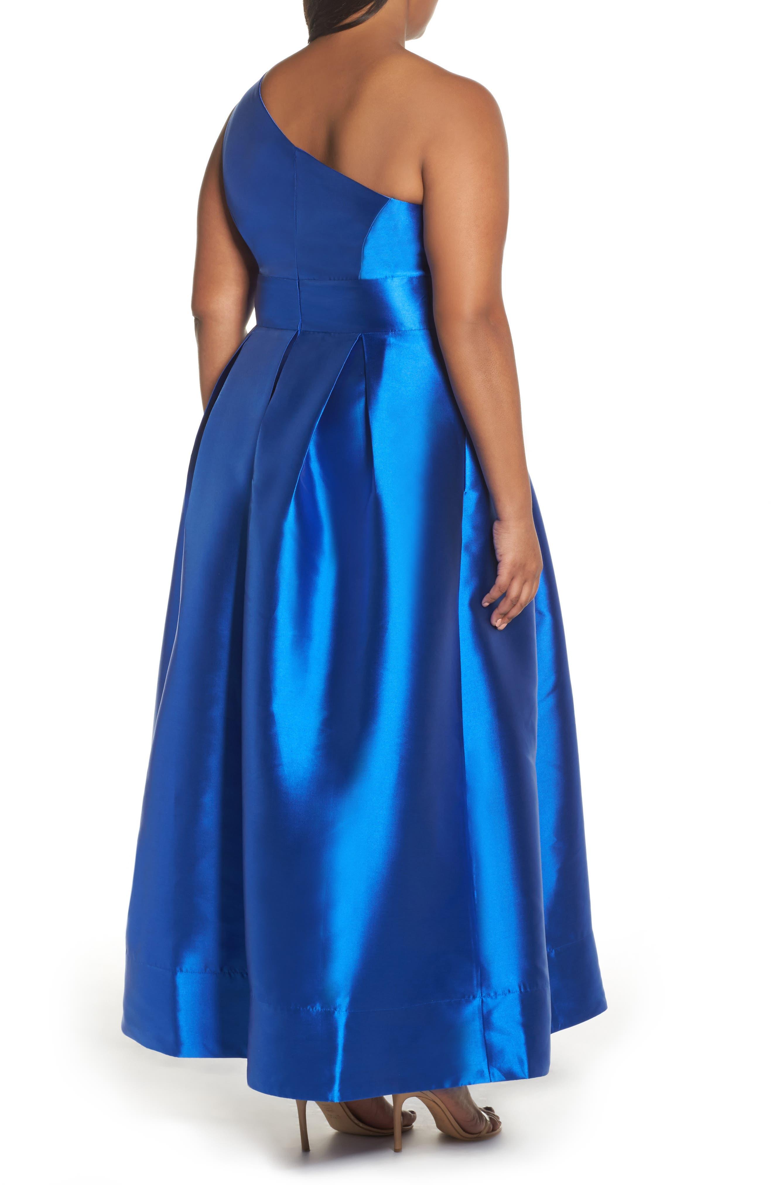 Alternate Image 3  - Sangria Appliquéd One Shoulder Ballgown (Plus Size)