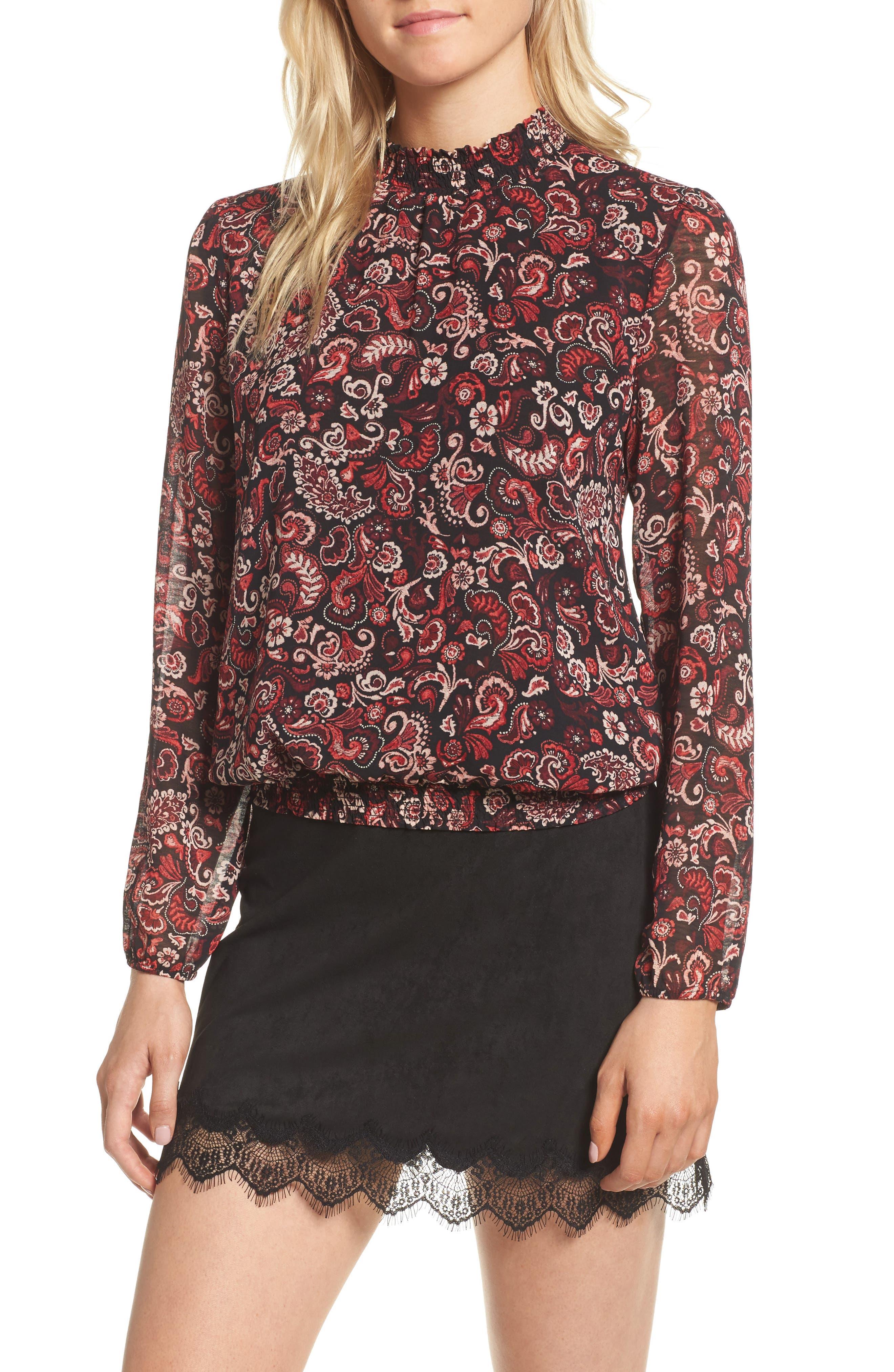 Katya Smocked Top,                         Main,                         color, Black