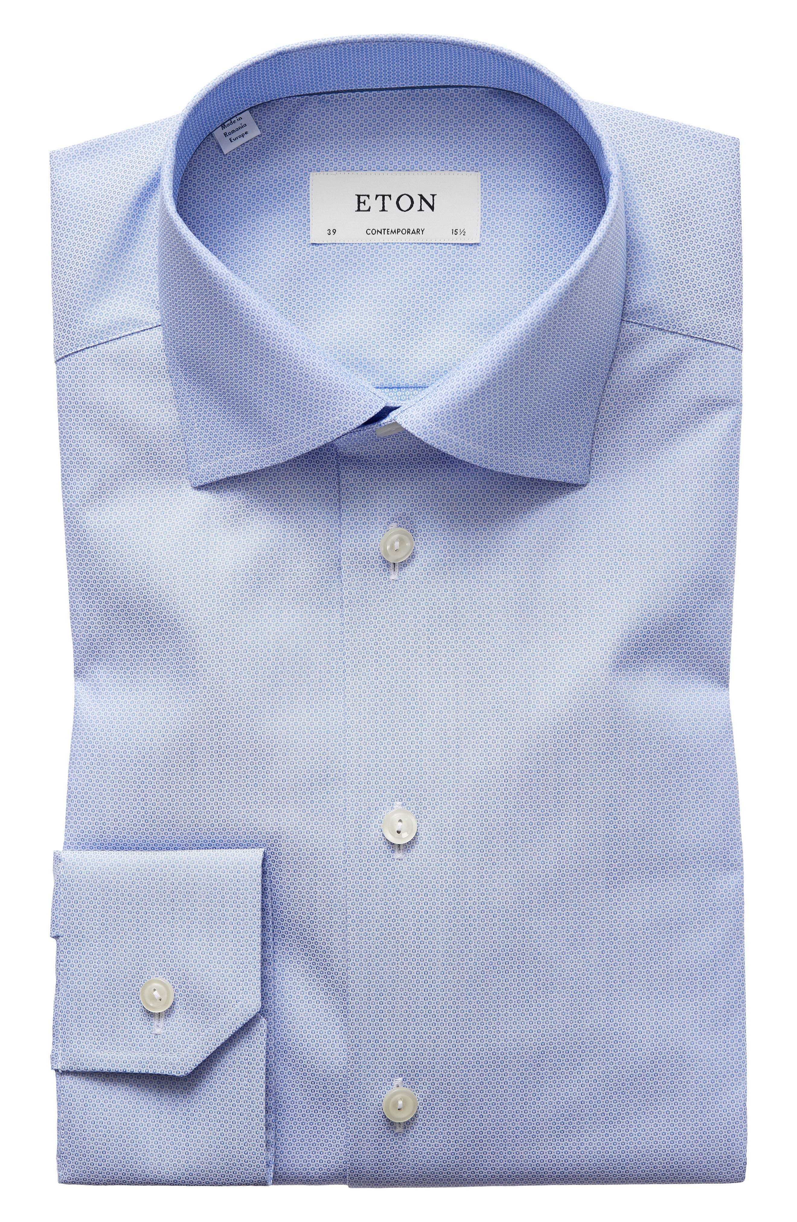 Main Image - Eton Contemporary Fit Textured Solid Dress Shirt