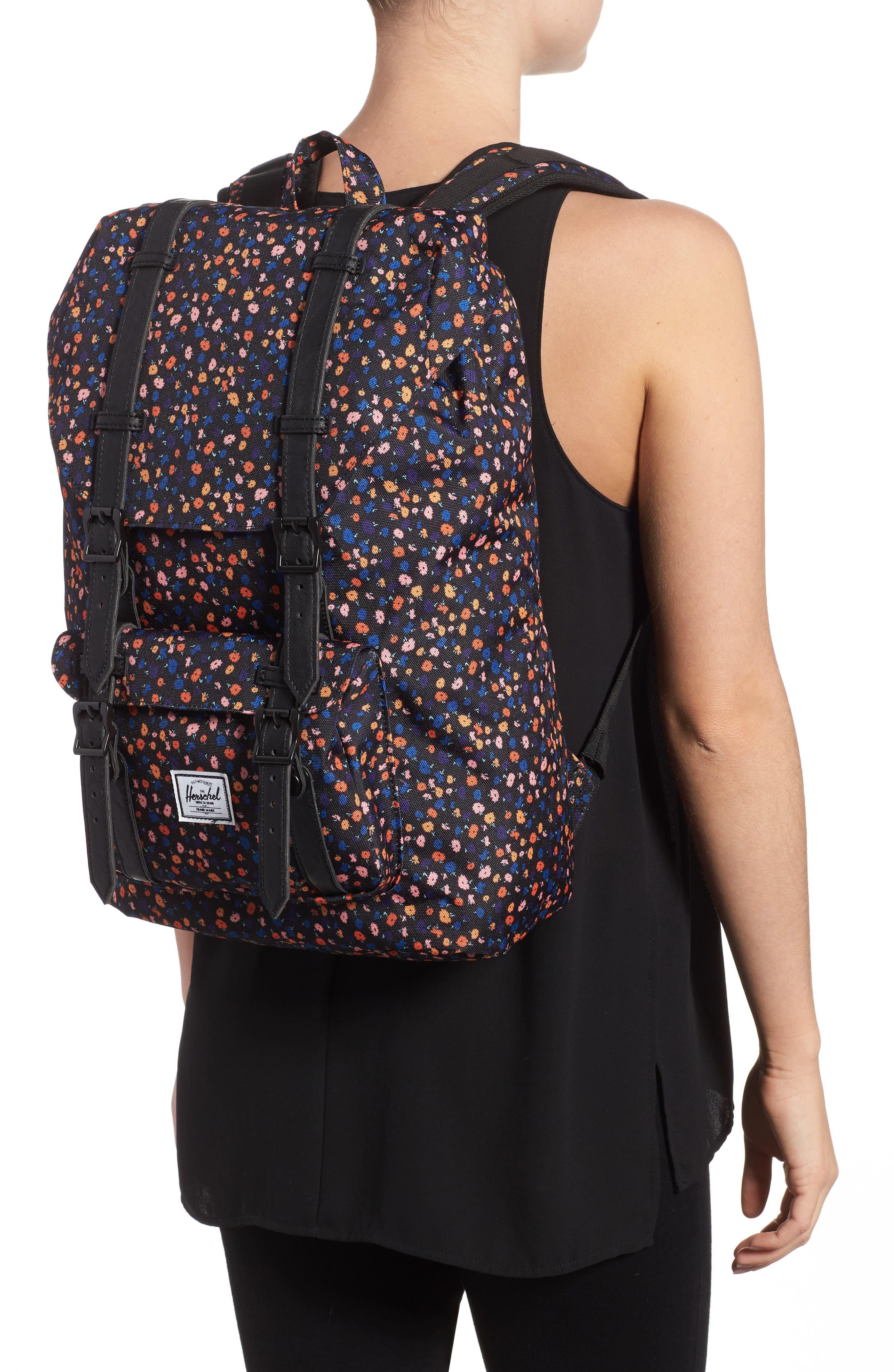 Little America - Mid Volume Backpack,                             Alternate thumbnail 2, color,                             Black Mini Floral