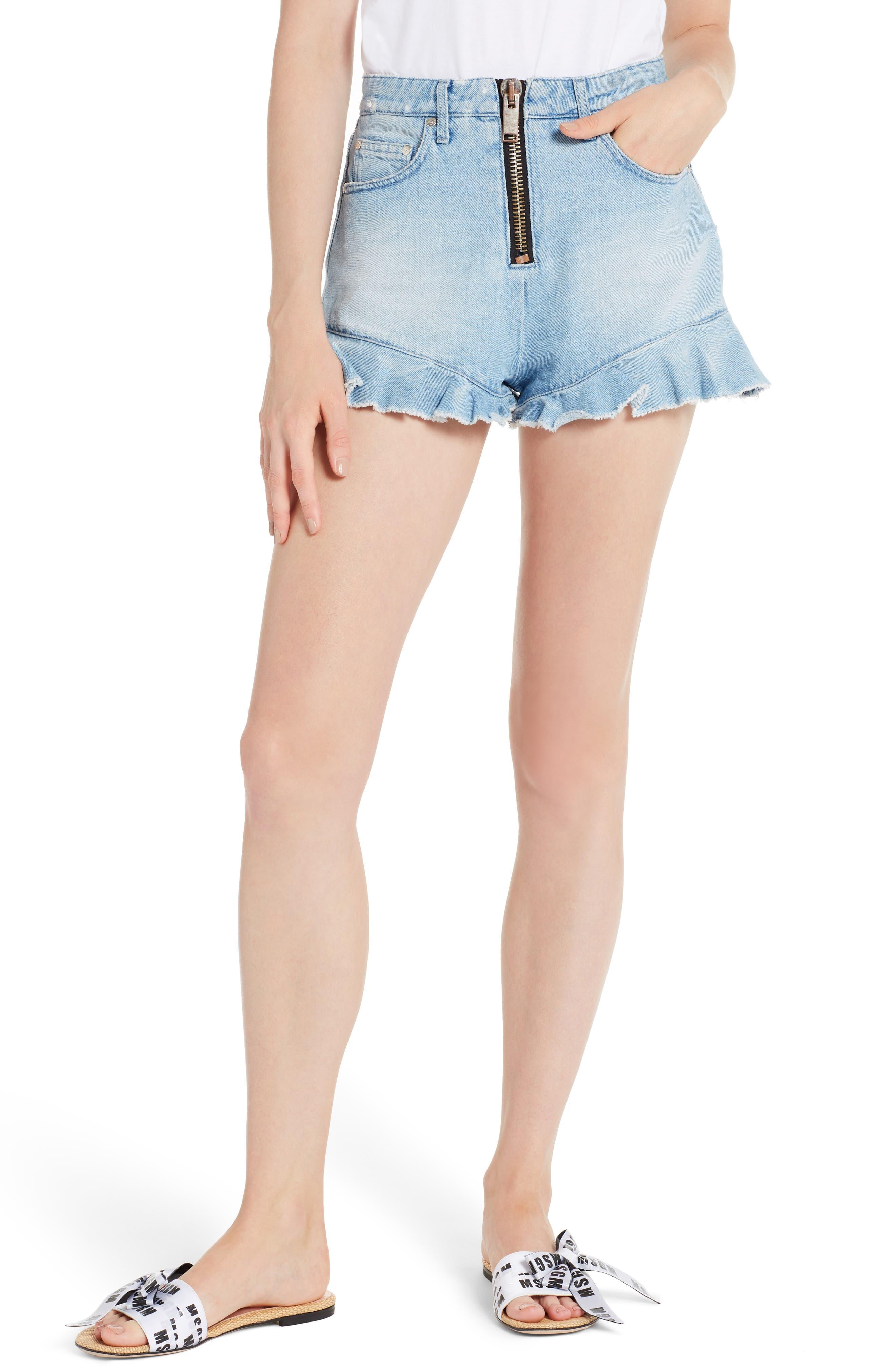 MSGM Ruffle Hem Denim Shorts