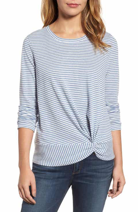 Caslon® Long Sleeve Front Knot Tee (Regular & Petite)