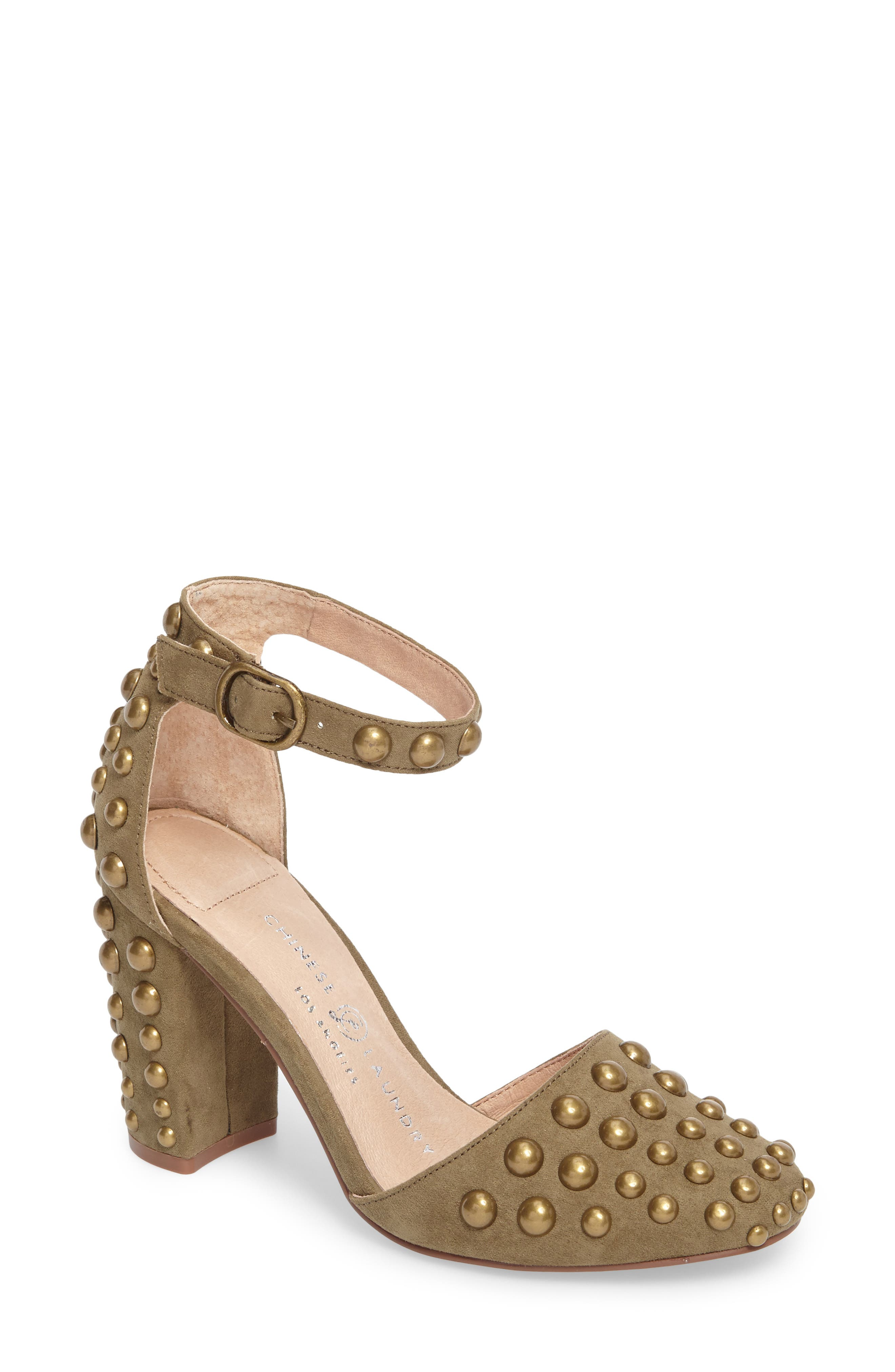 Vegas Studded Pump,                             Main thumbnail 1, color,                             Olive Suede