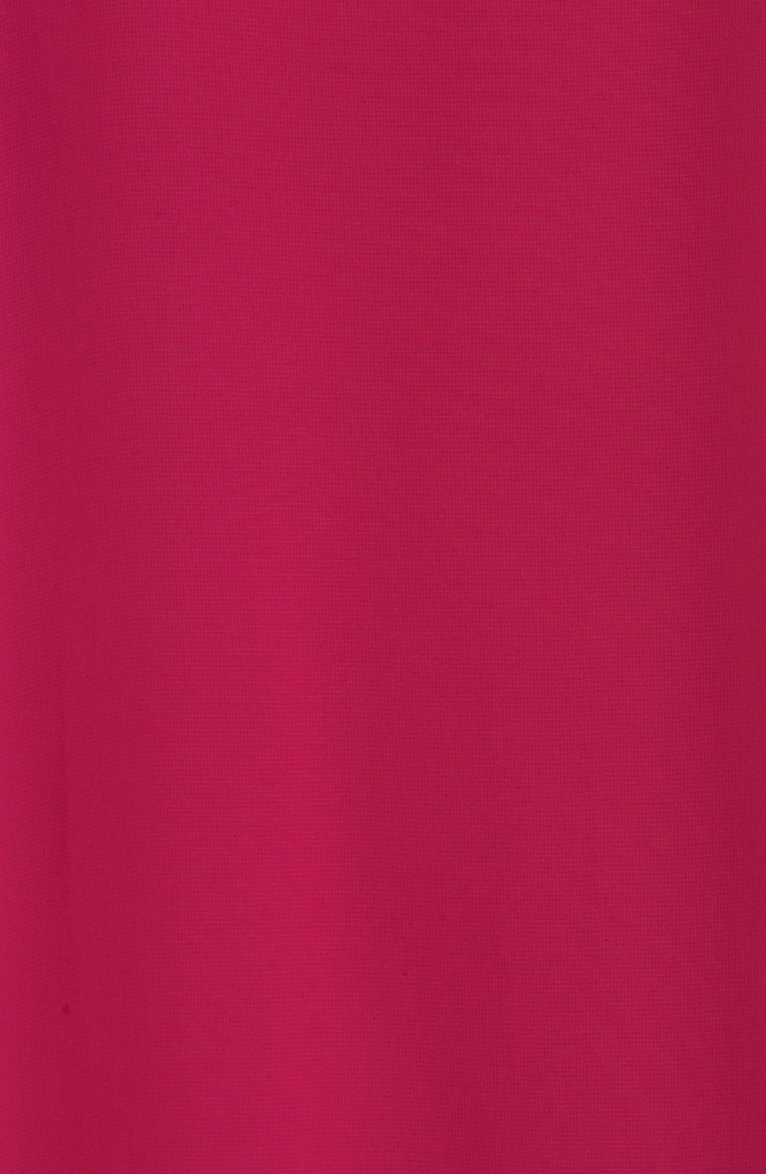 Chiffon Cape Sheath Dress,                             Alternate thumbnail 5, color,                             Magenta