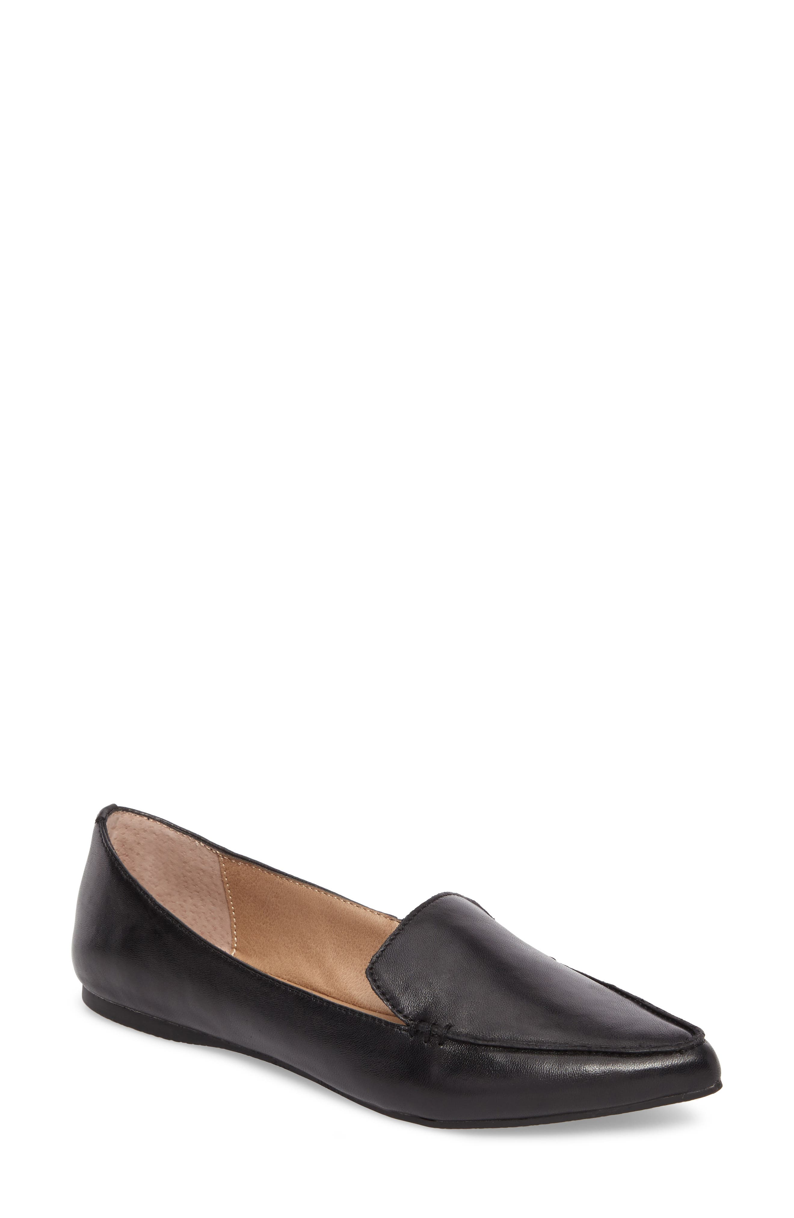 Feather Loafer Flat,                             Main thumbnail 1, color,                             Black Leather