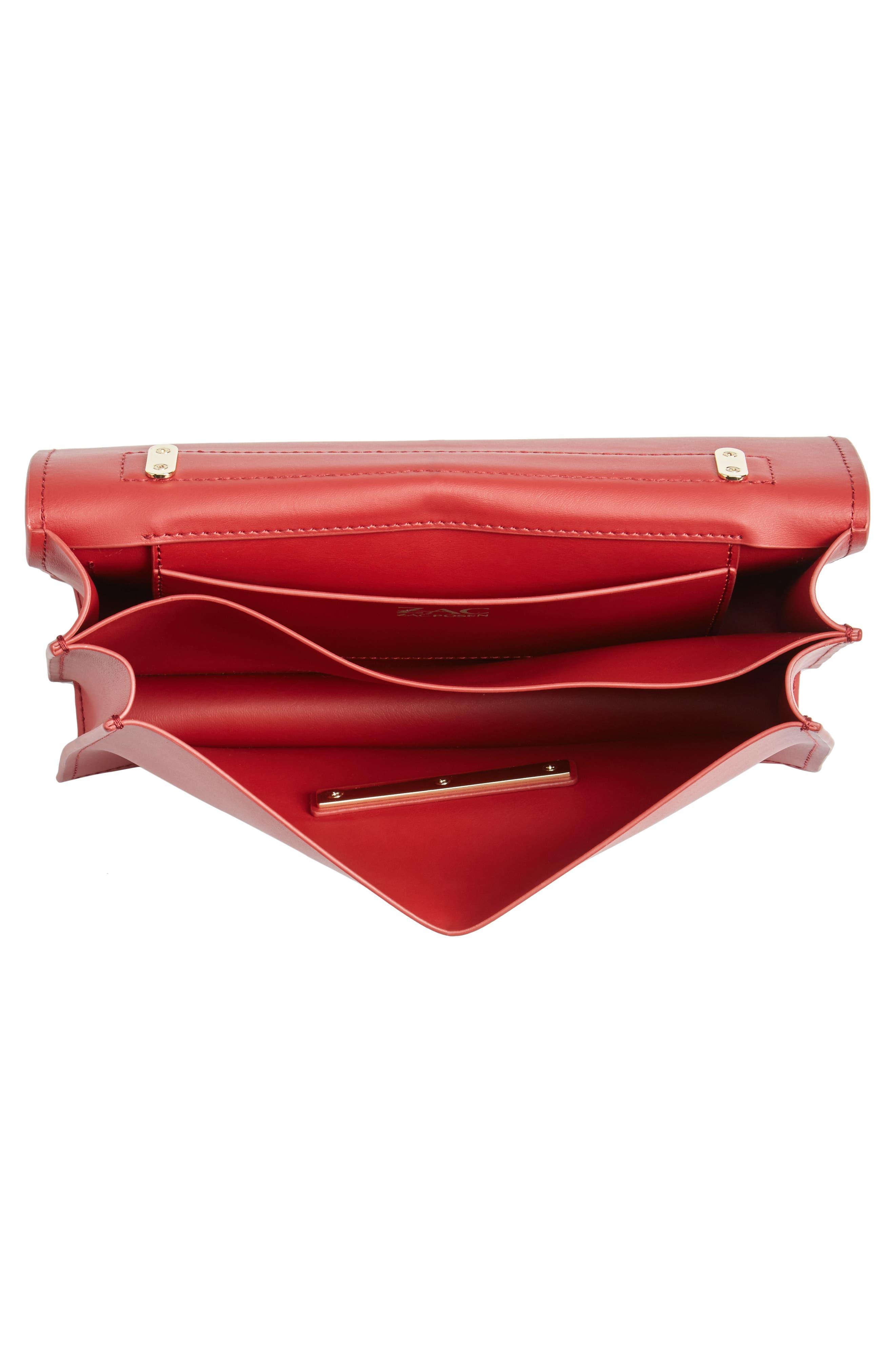 ZAC Zac Posen Earthette Leather Accordion Bag,                             Alternate thumbnail 4, color,                             Red
