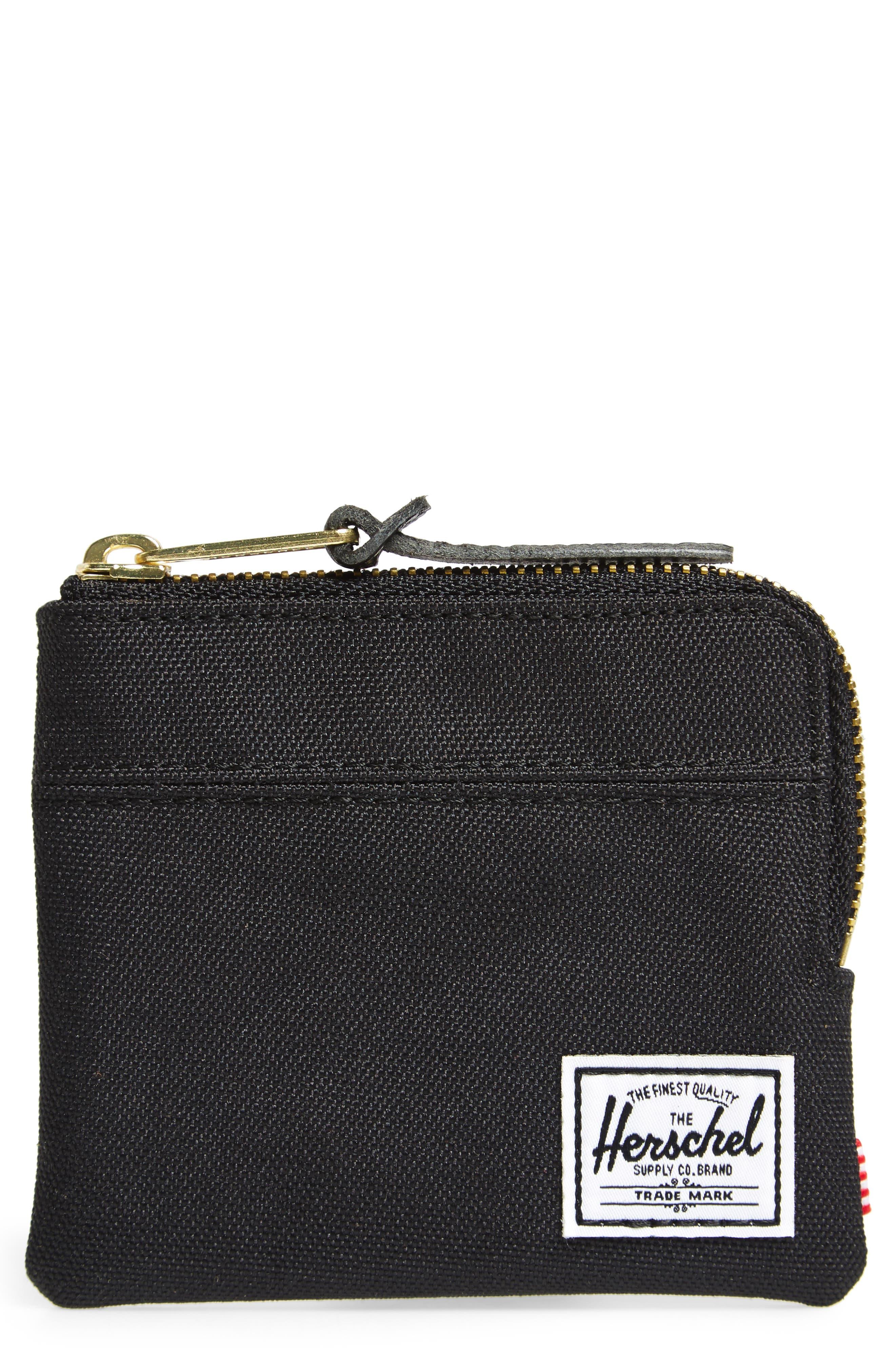 'Johnny' Half Zip Wallet,                         Main,                         color, Black/ Black