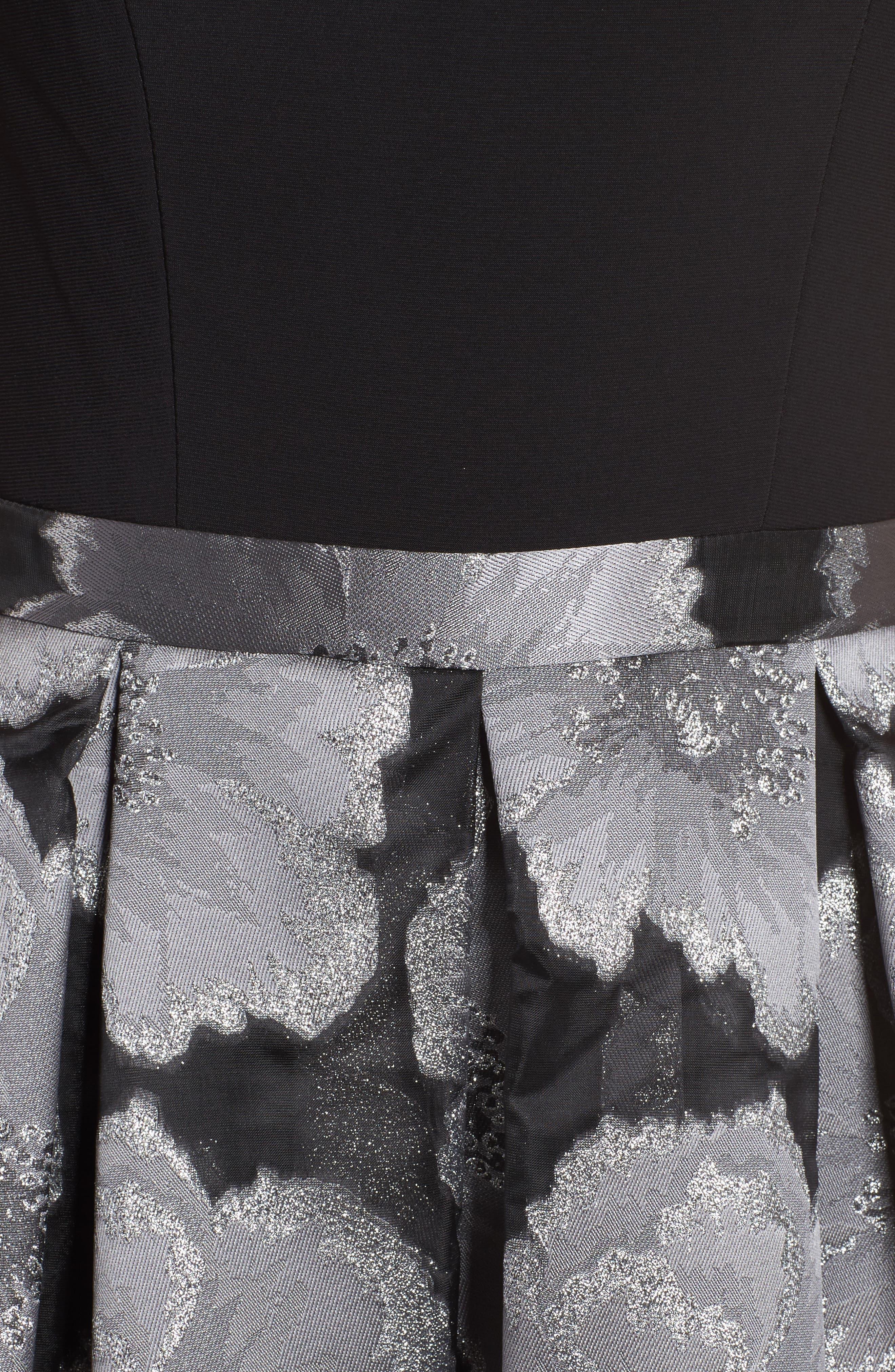 Mixed Media Off the Shoulder Dress,                             Alternate thumbnail 5, color,                             Black/ Silver