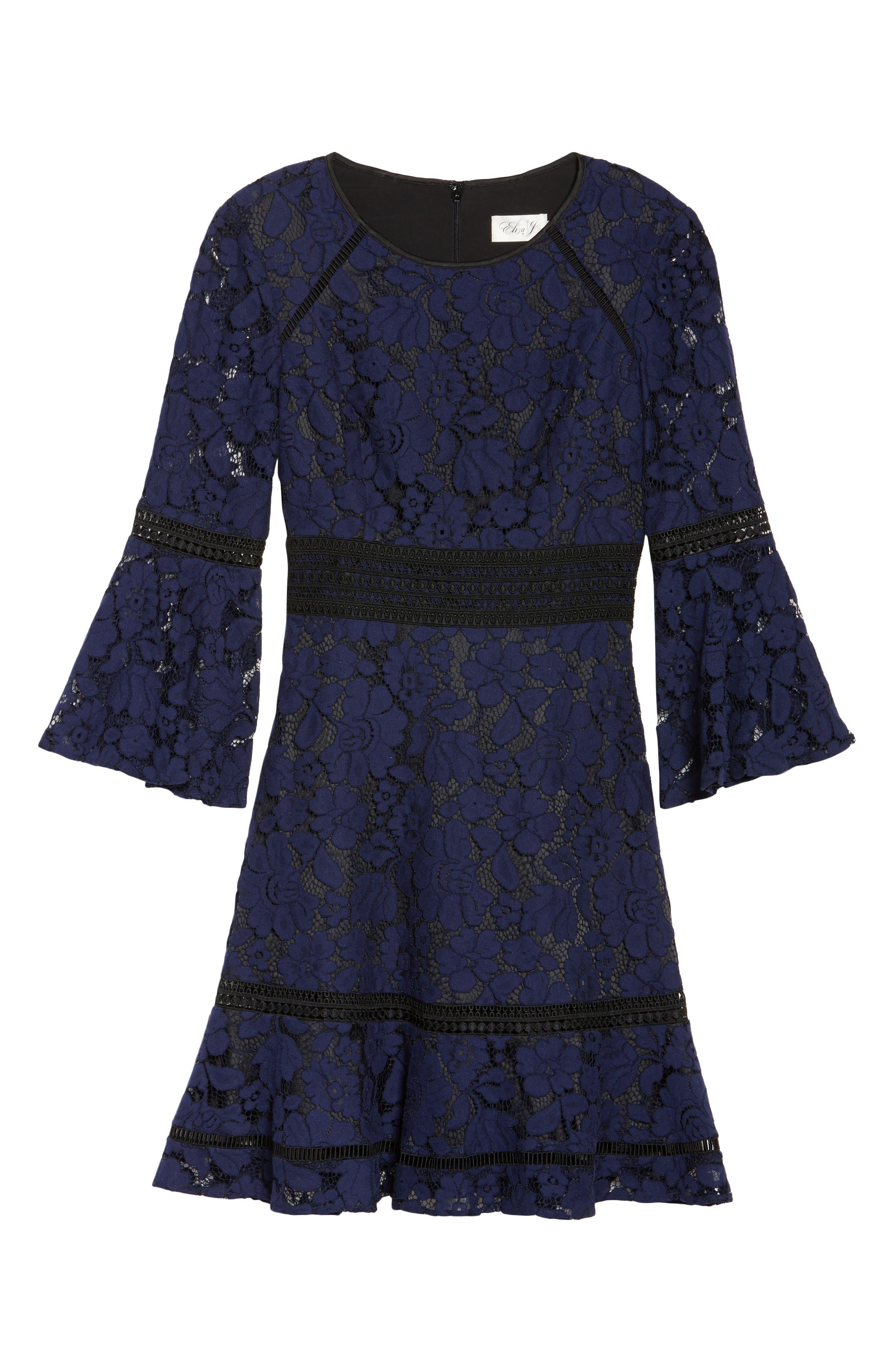 Bell Sleeve Lace Dress,                             Alternate thumbnail 6, color,                             Navy/ Black