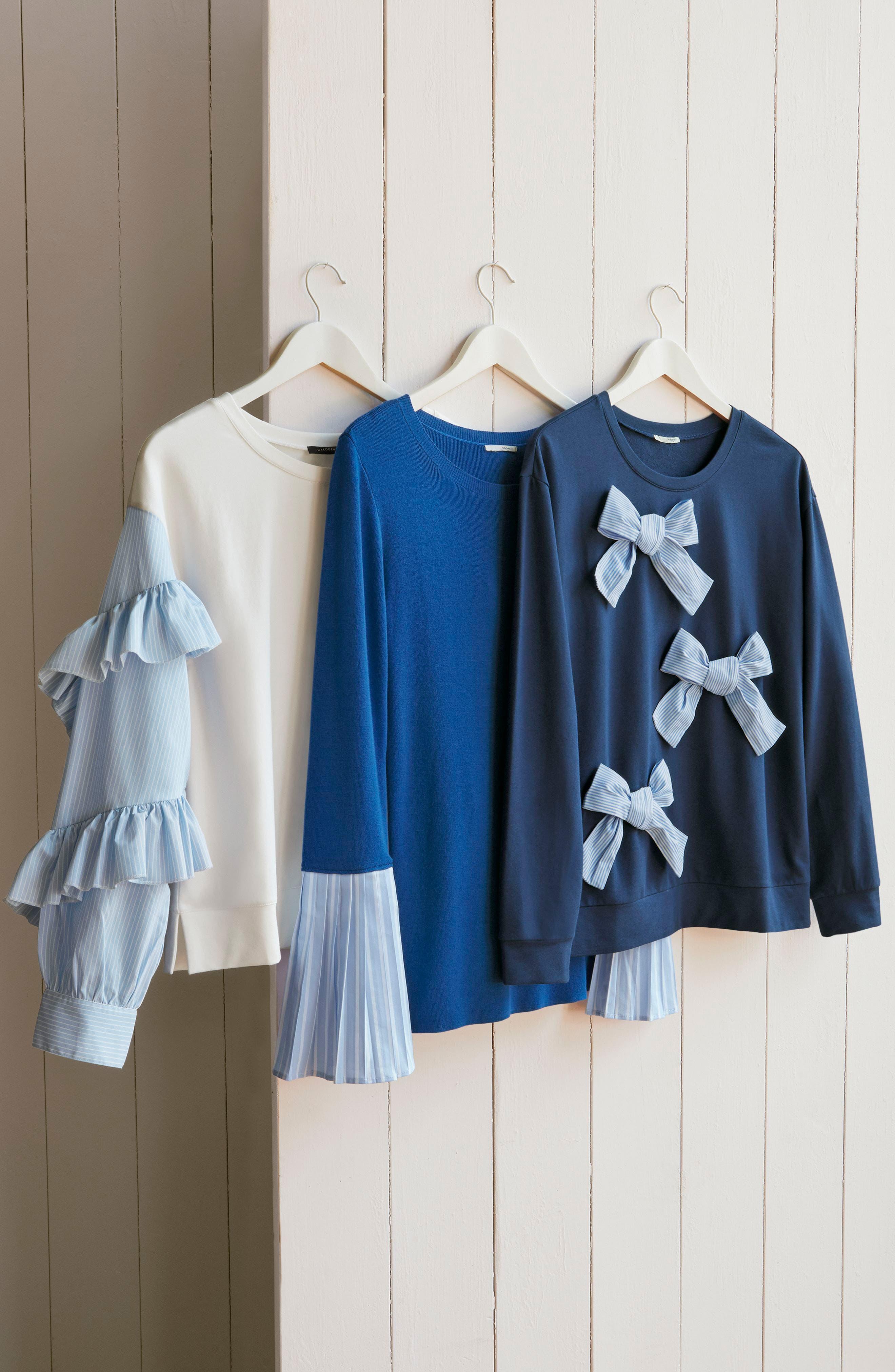 Alternate Image 7  - Halogen® Poplin Ruffle Sleeve Sweatshirt (Regular & Petite)