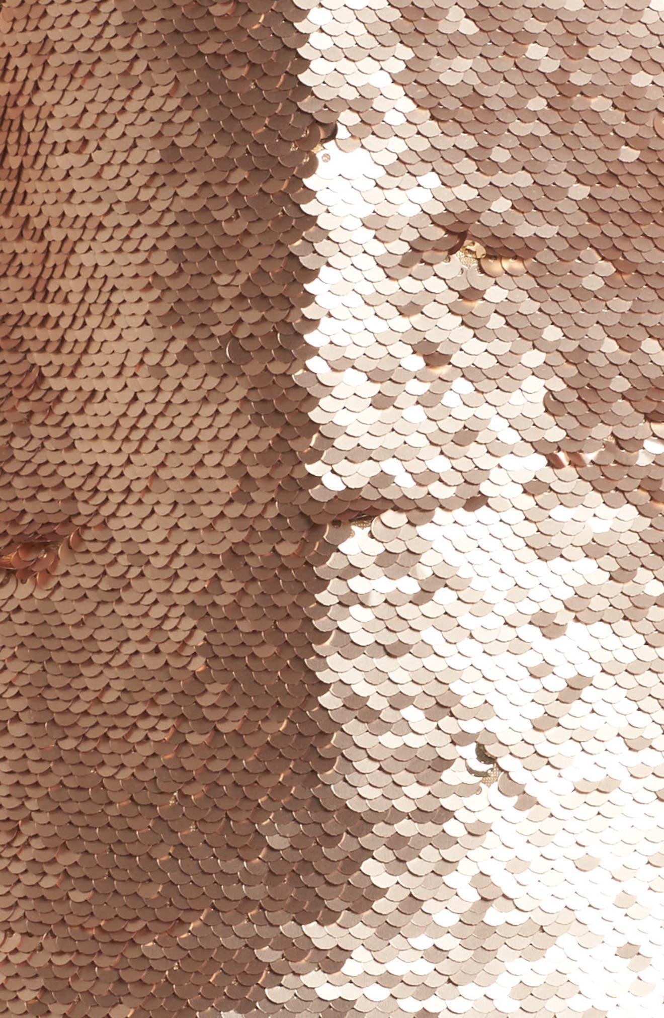 Revolution Off the Shoulder Sequin Top,                             Alternate thumbnail 5, color,                             Champagne Blush