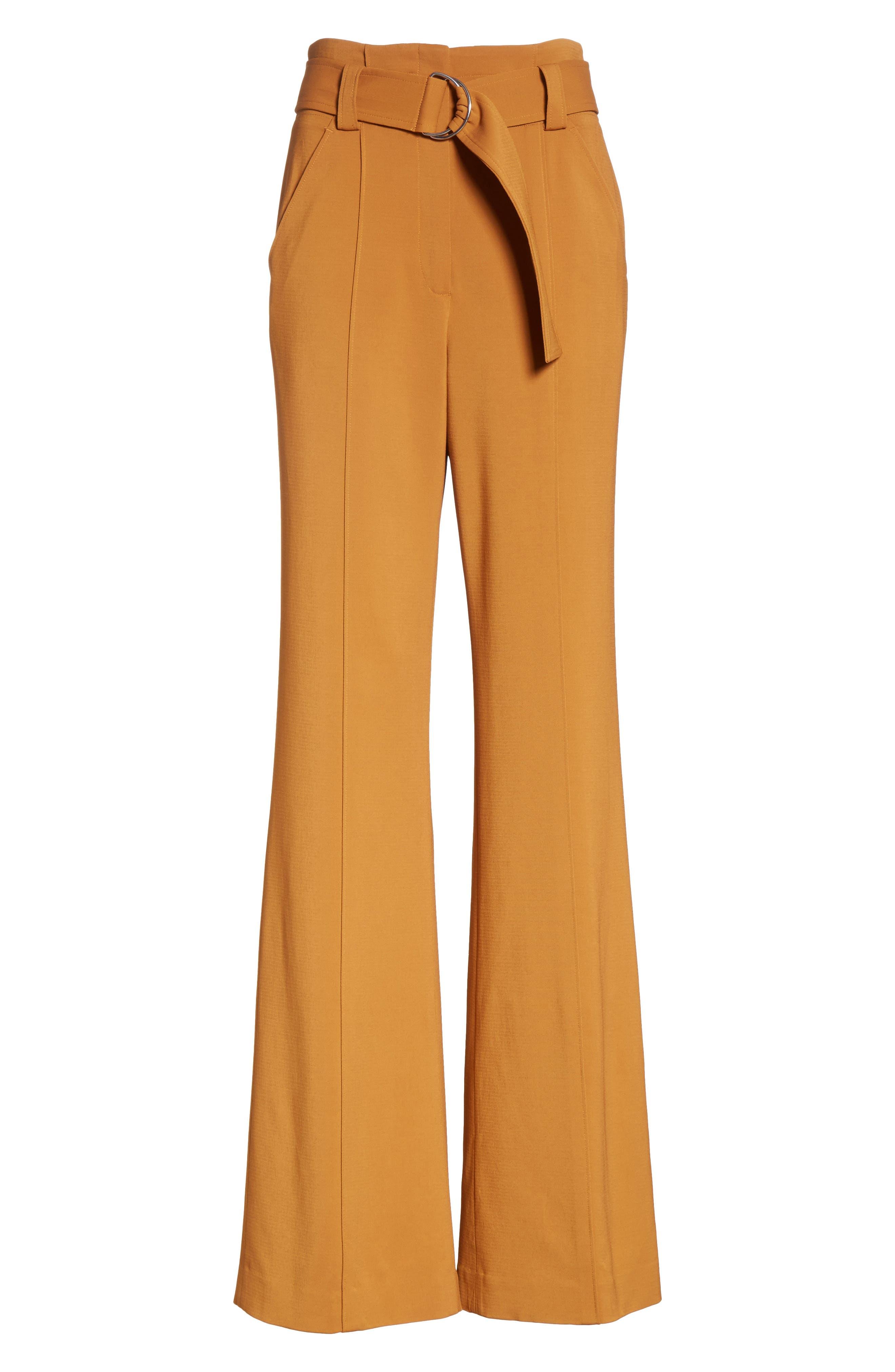 Foster Flare Leg Crepe Pants,                             Alternate thumbnail 7, color,                             Gold
