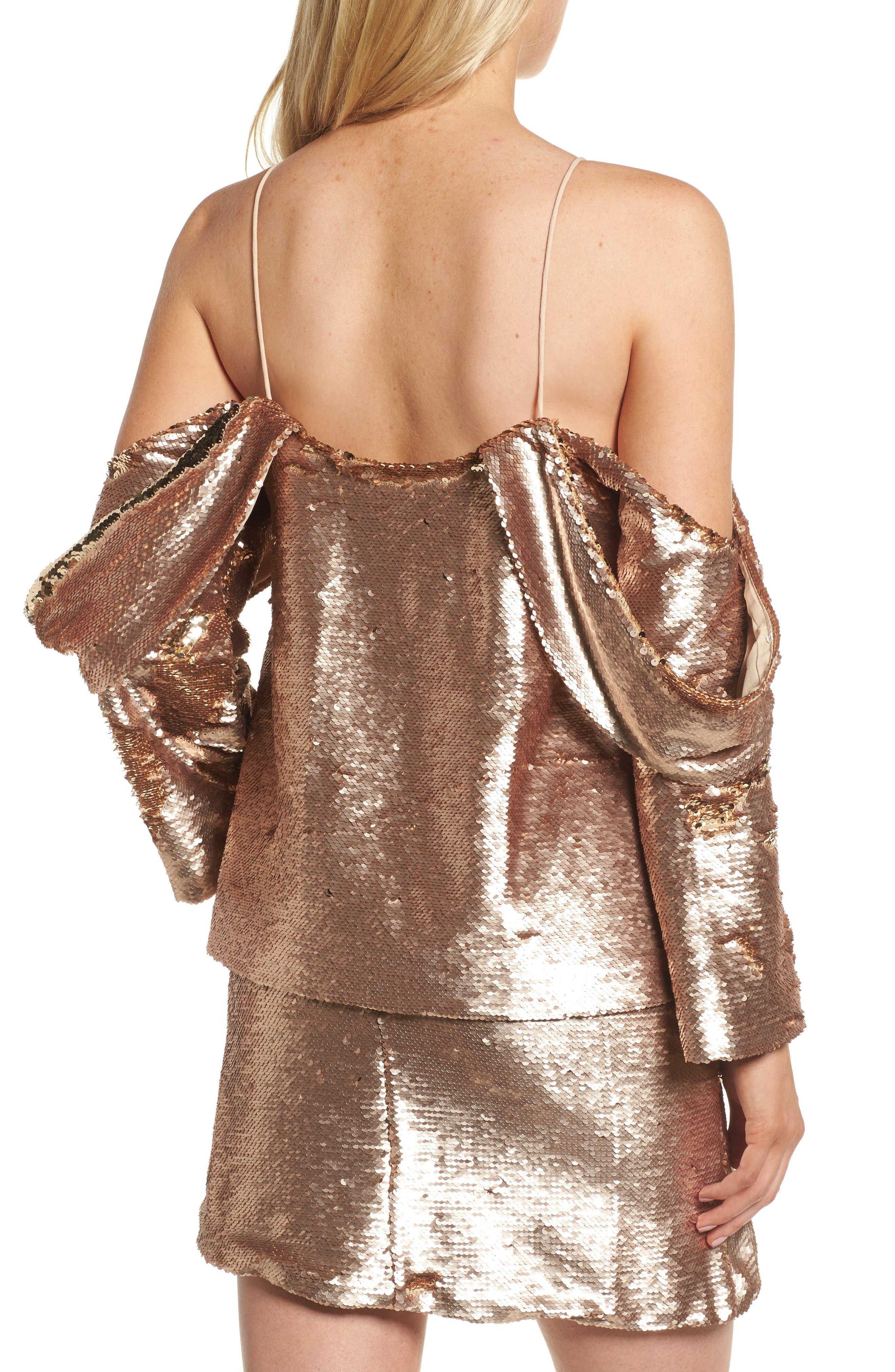 Revolution Off the Shoulder Sequin Top,                             Alternate thumbnail 2, color,                             Champagne Blush