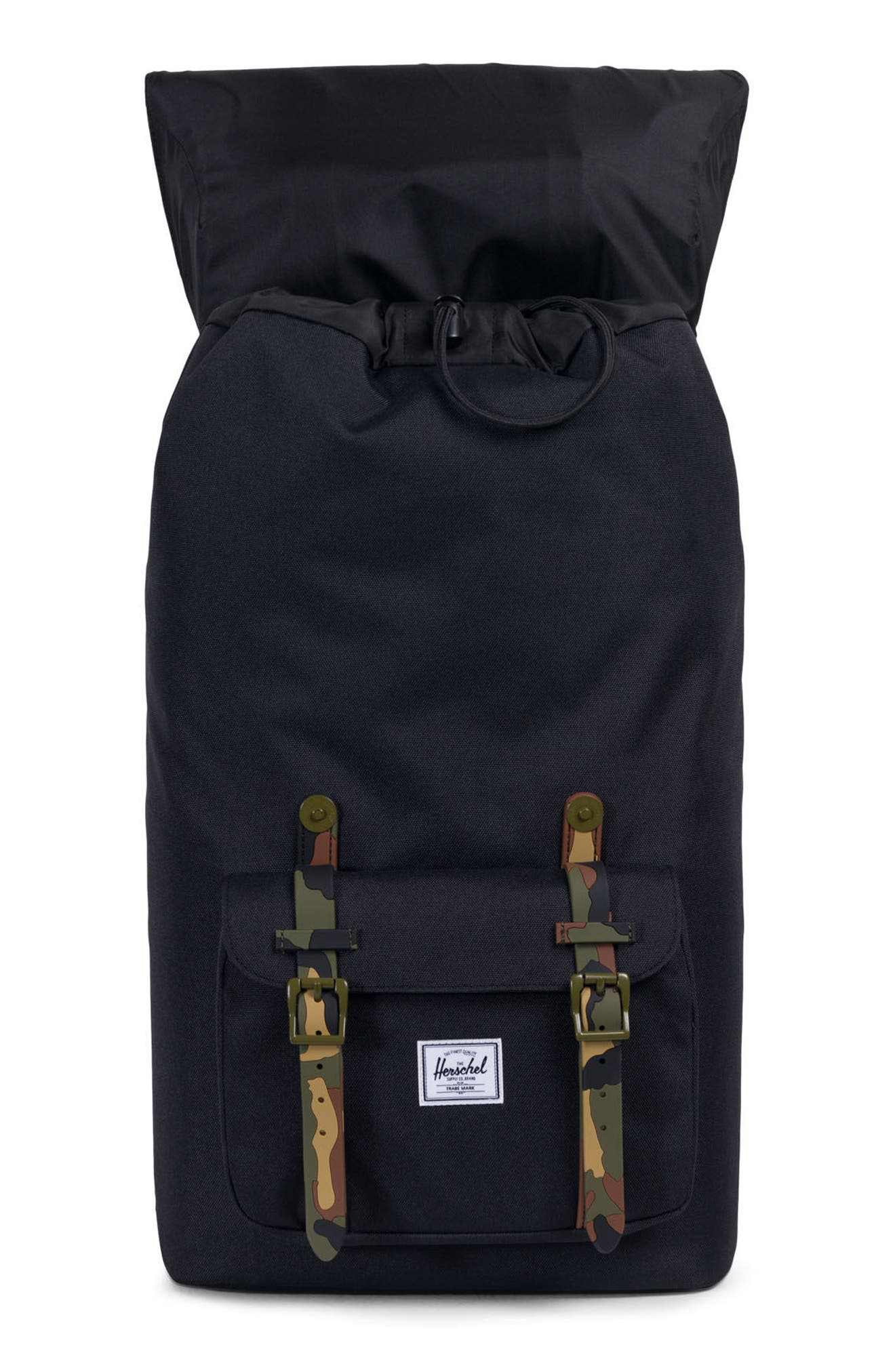 Little America Backpack,                             Alternate thumbnail 3, color,                             Black/ Woodland Camo Rubber