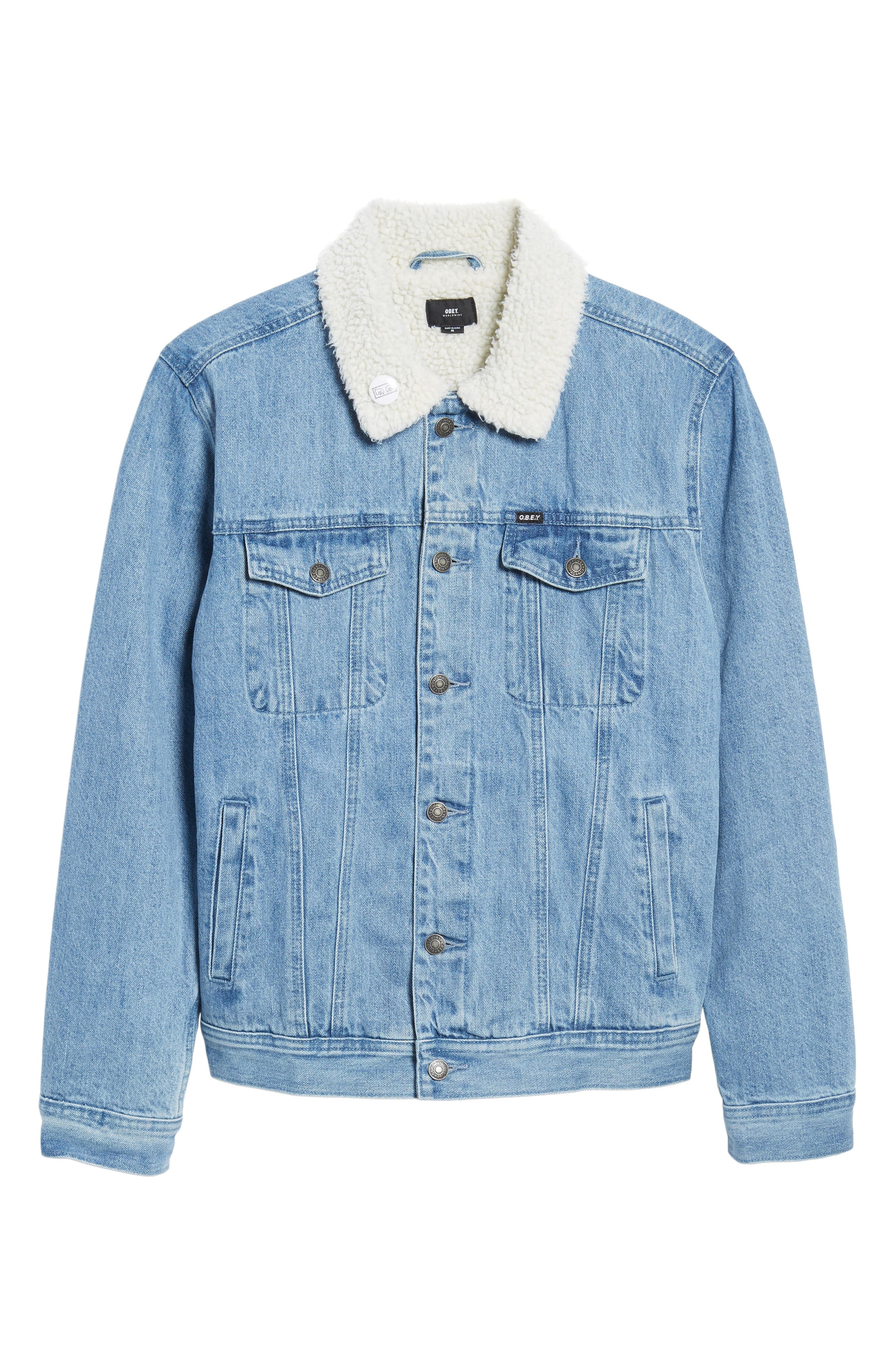 Alternate Image 6  - Obey Off the Chain Fleece Denim Jacket