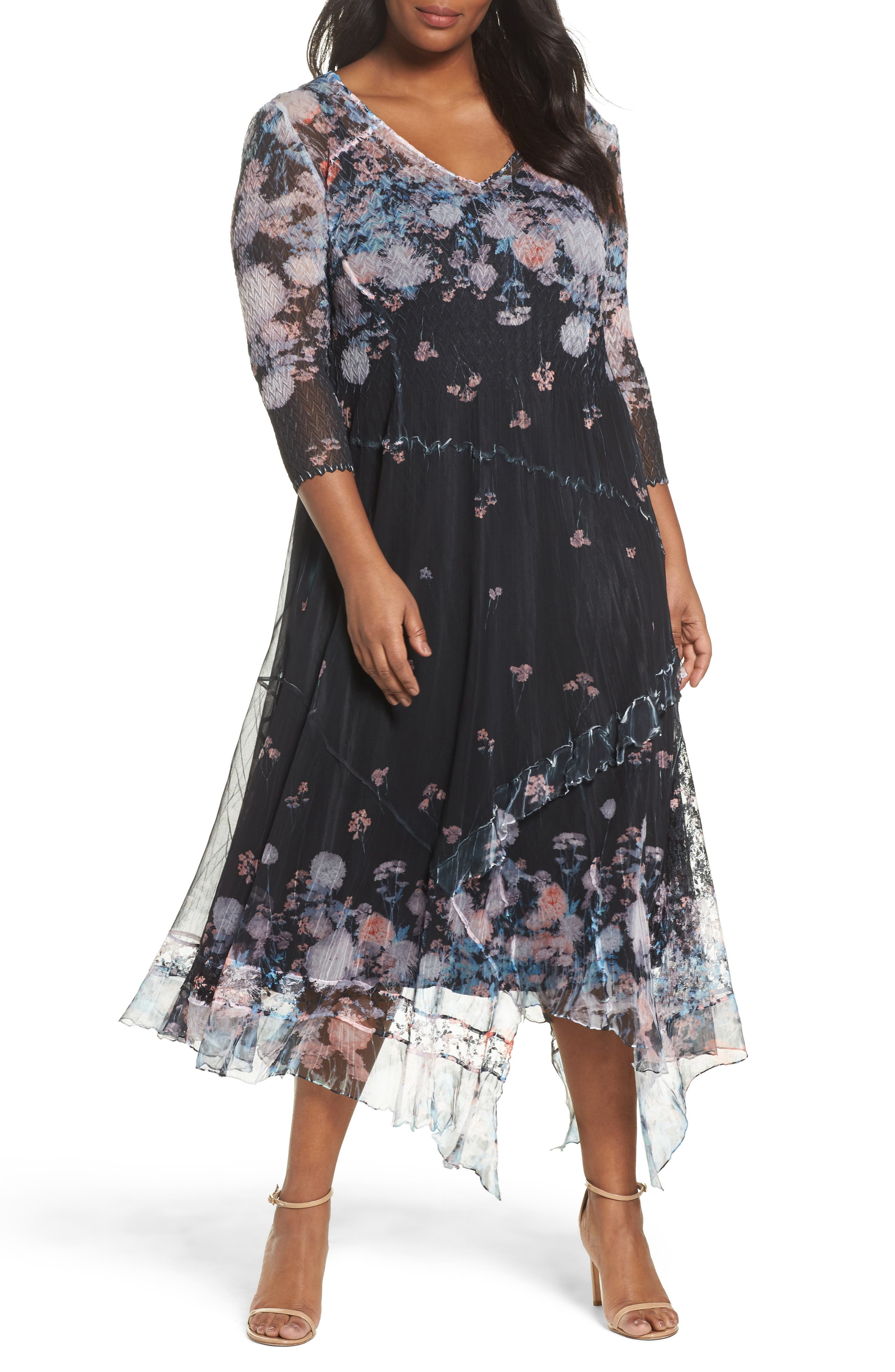 Alternate Image 1 Selected - Komarov Floral Print Handkerchief Hem Maxi Dress (Plus Size)
