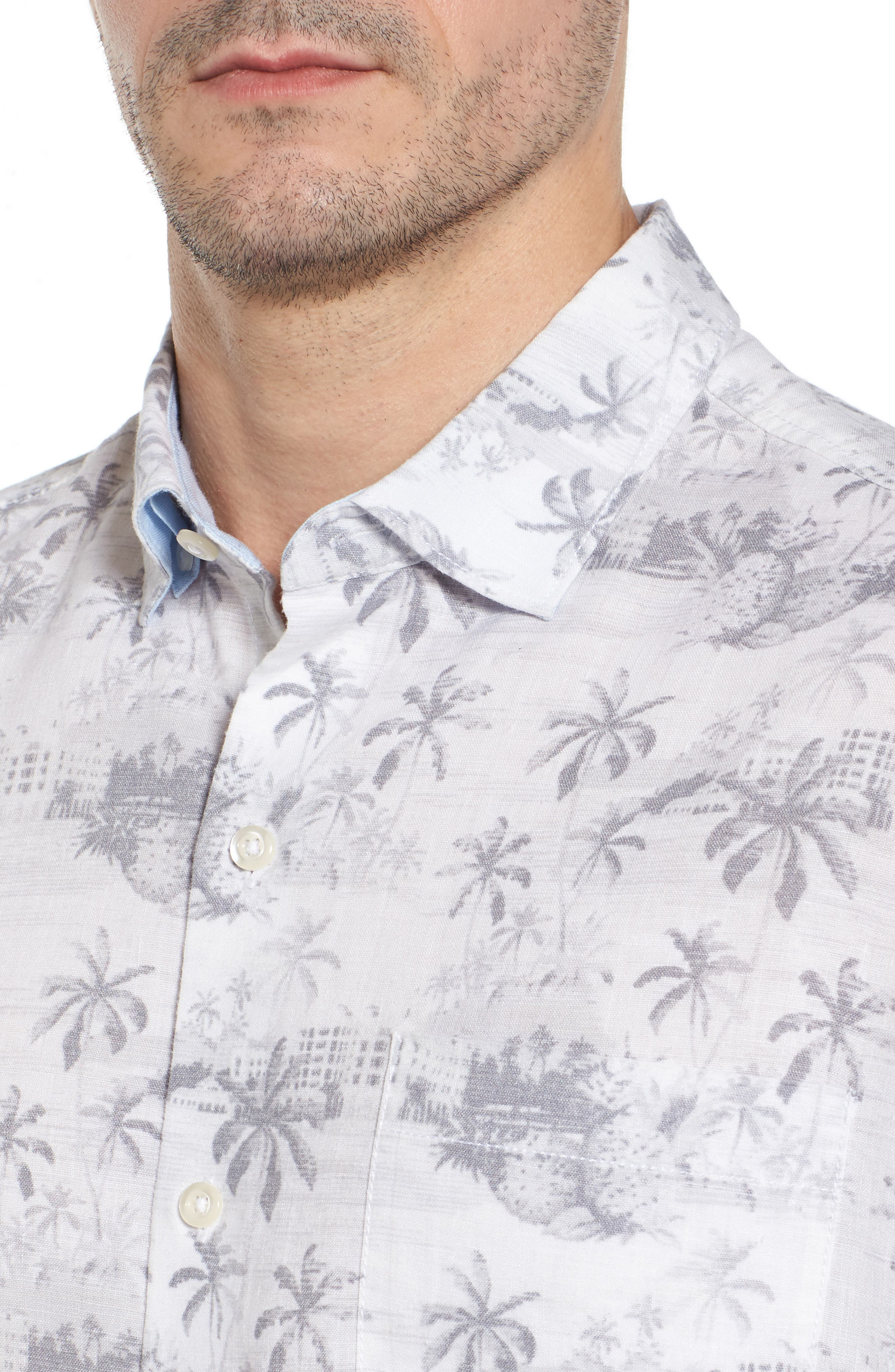 Tropical Toile Sport Shirt,                             Alternate thumbnail 4, color,                             Micro Chip