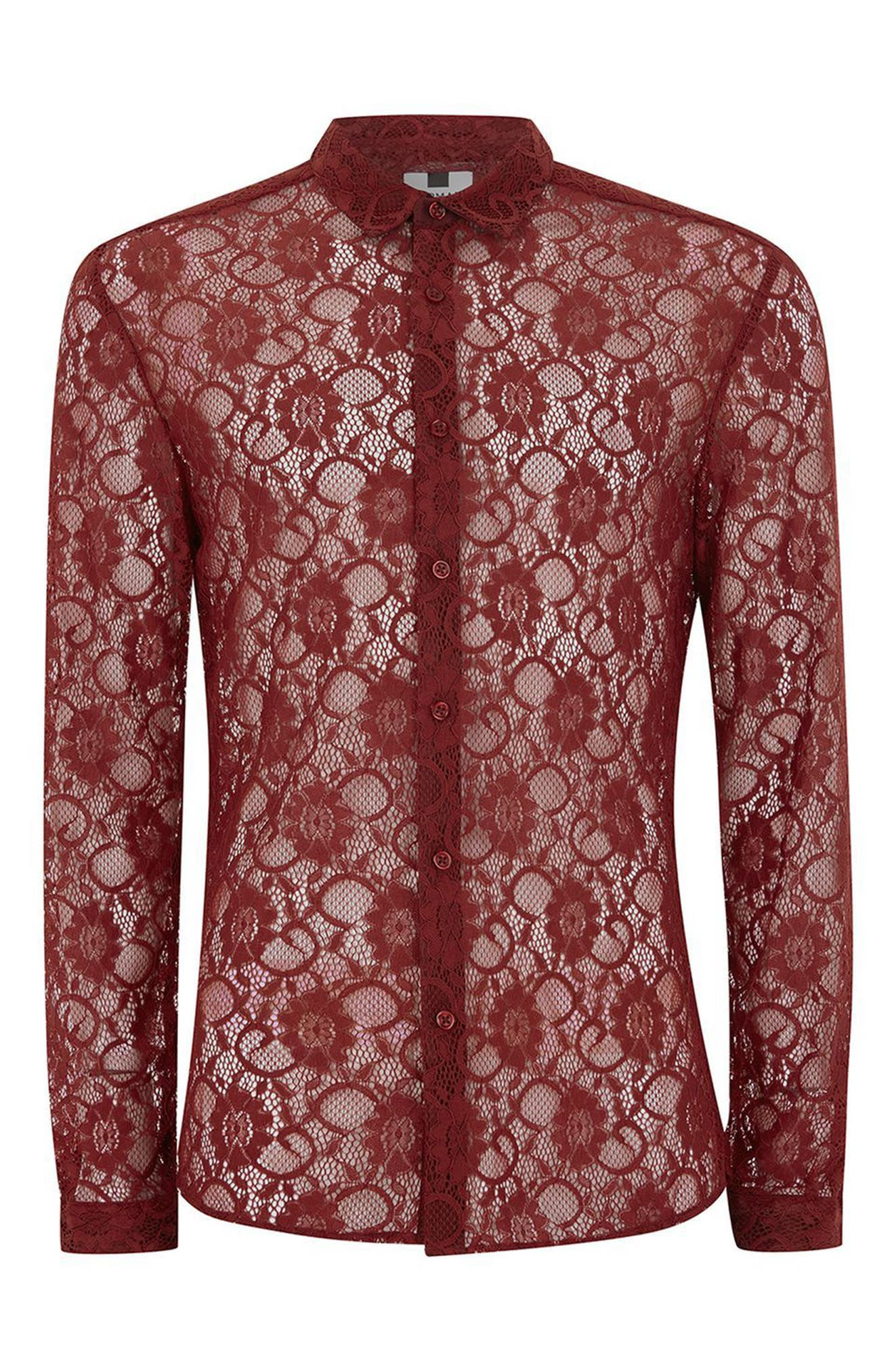 Muscle Fit Sheer Lace Shirt,                             Alternate thumbnail 4, color,                             Red