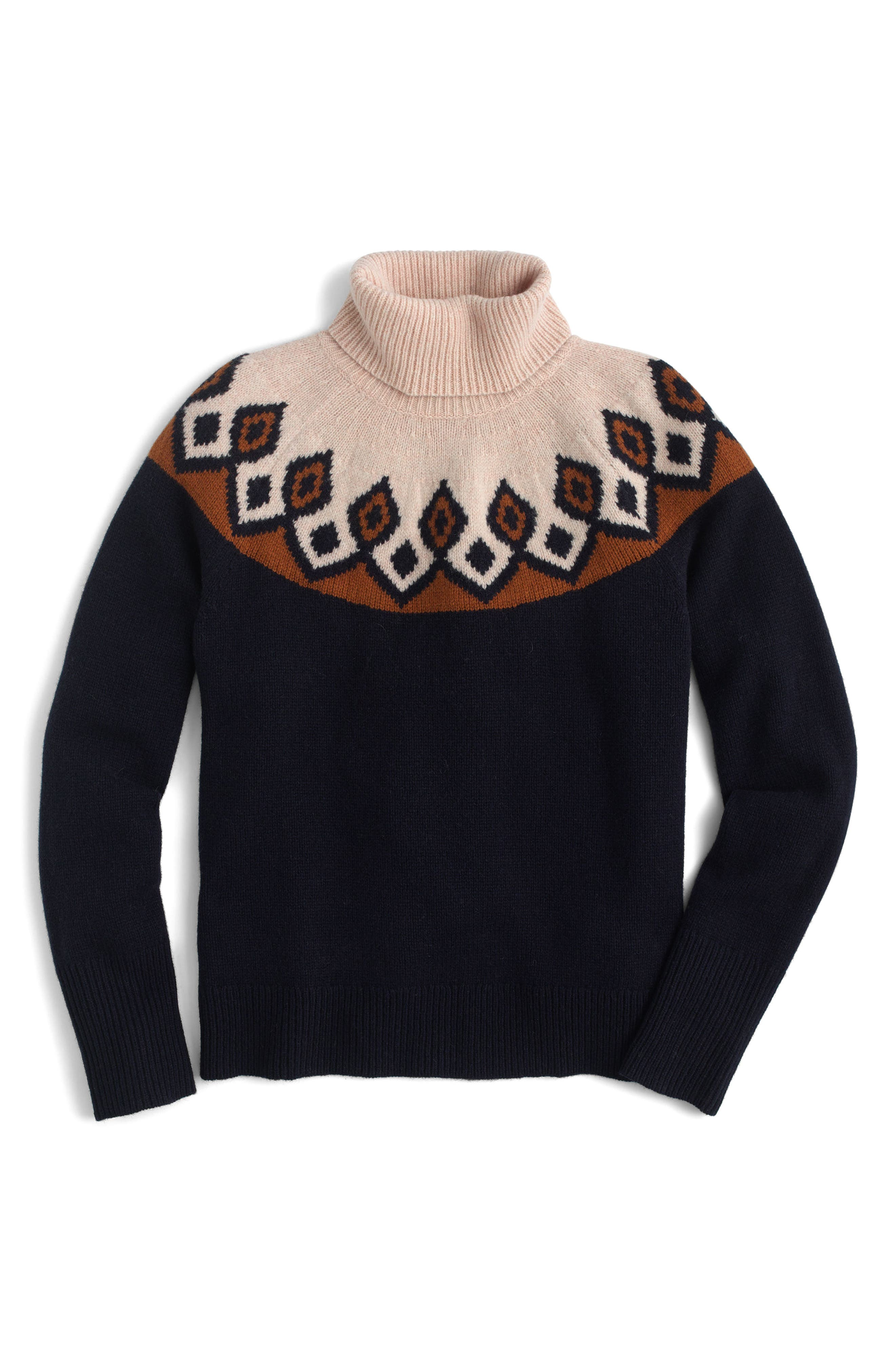 Ambrose Fair Isle Merino Wool Sweater,                             Alternate thumbnail 3, color,                             Navy/ Peach