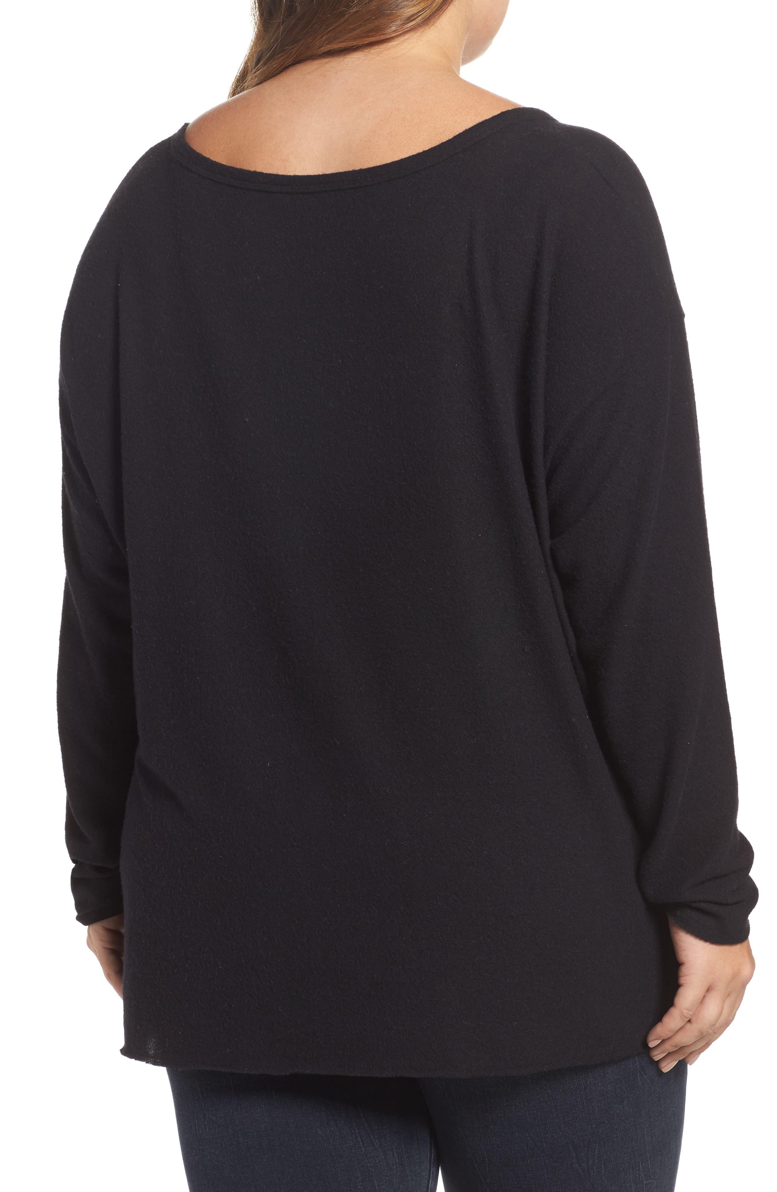 Drop Shoulder Pocket Top,                             Alternate thumbnail 2, color,                             Black
