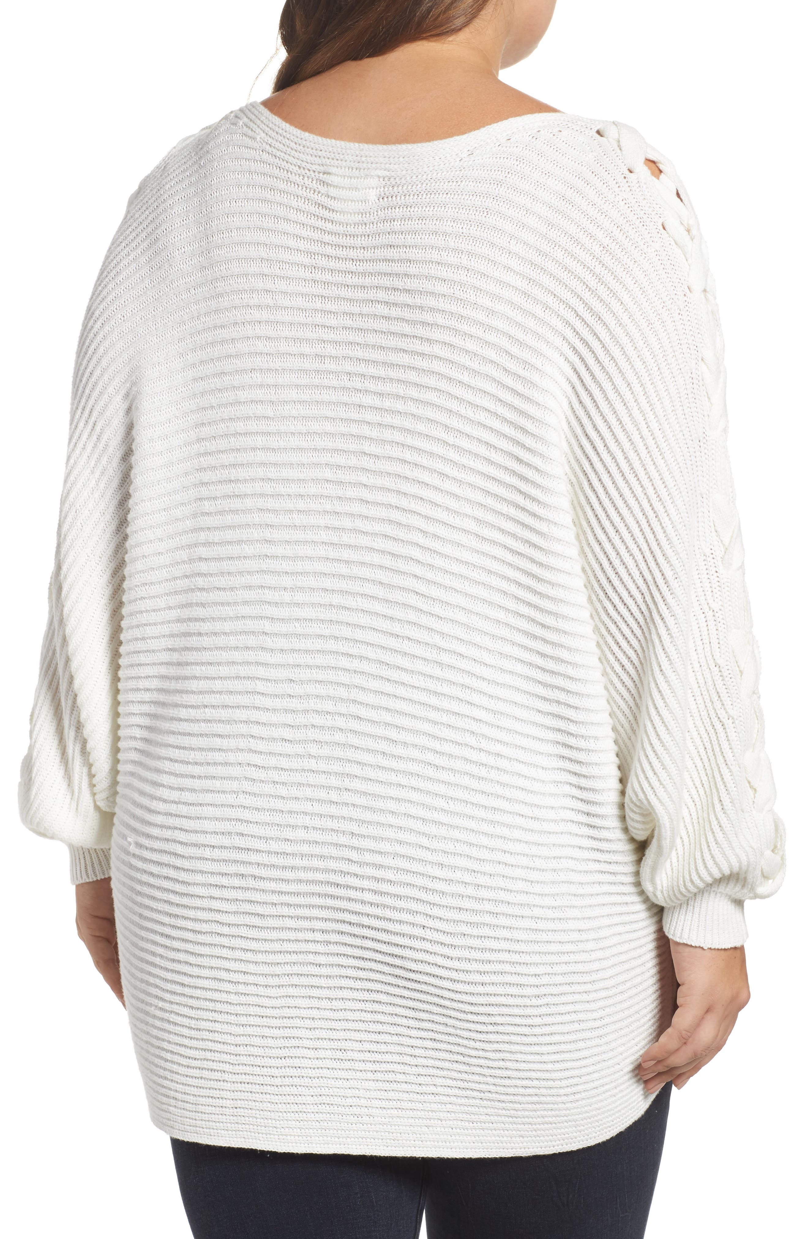 Lace-Up Sleeve Sweater,                             Alternate thumbnail 2, color,                             Ivory Cloud