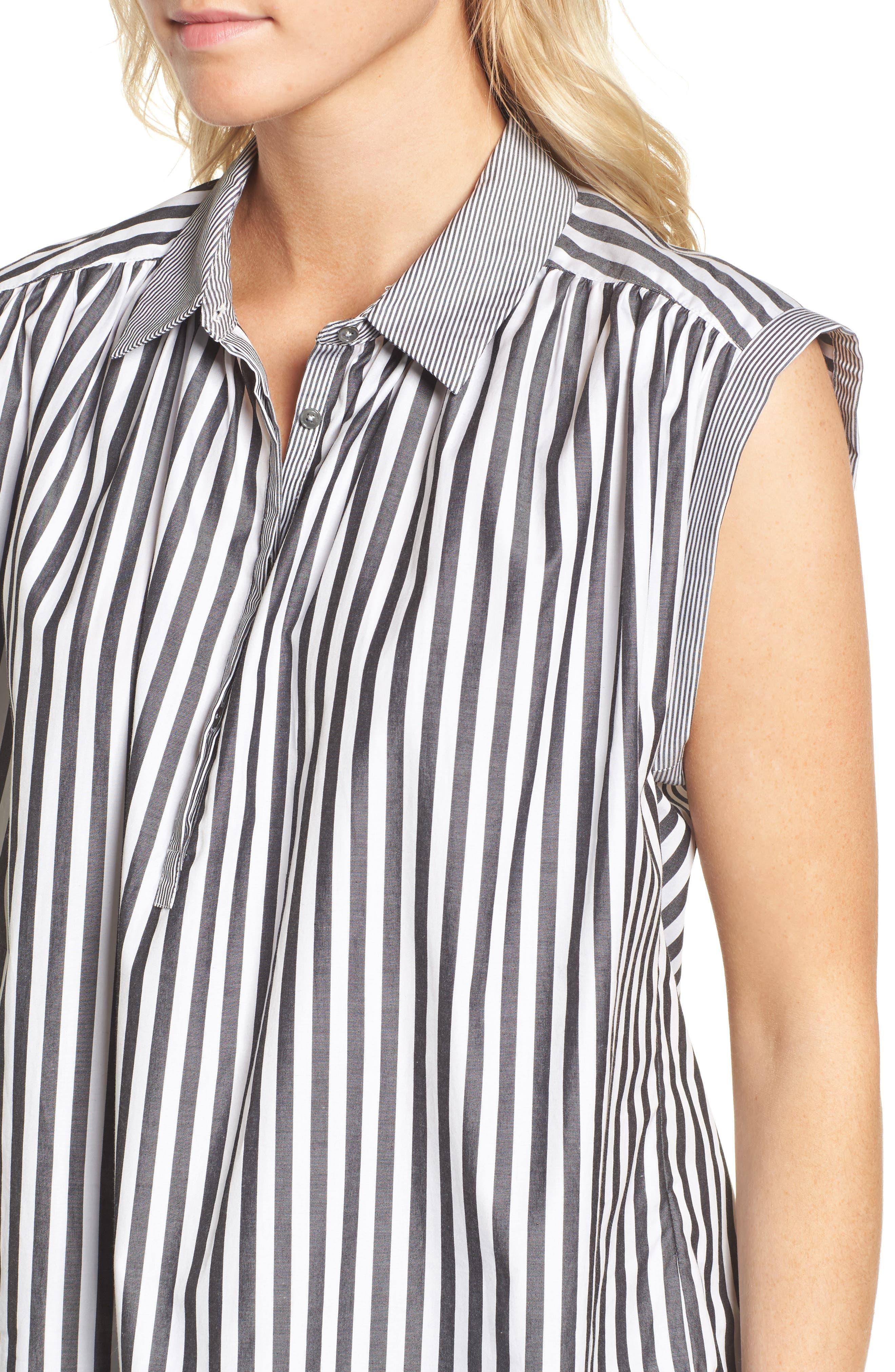 Abigail Stripe Top,                             Alternate thumbnail 4, color,                             Black/ White