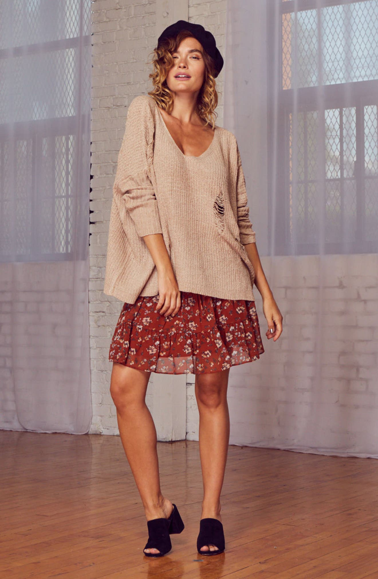 Lily Rose Distressed Sweater,                             Alternate thumbnail 7, color,                             Stone
