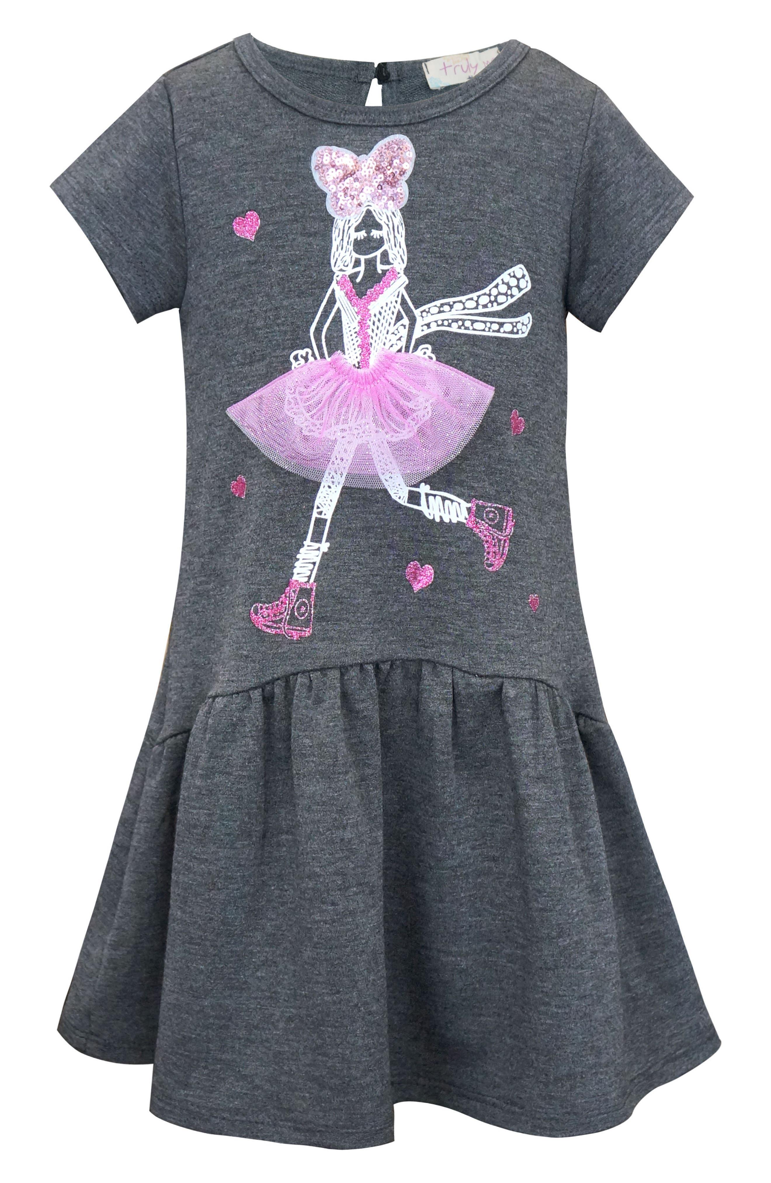 Dimensional Graphic Dress,                             Main thumbnail 1, color,                             Dark Grey