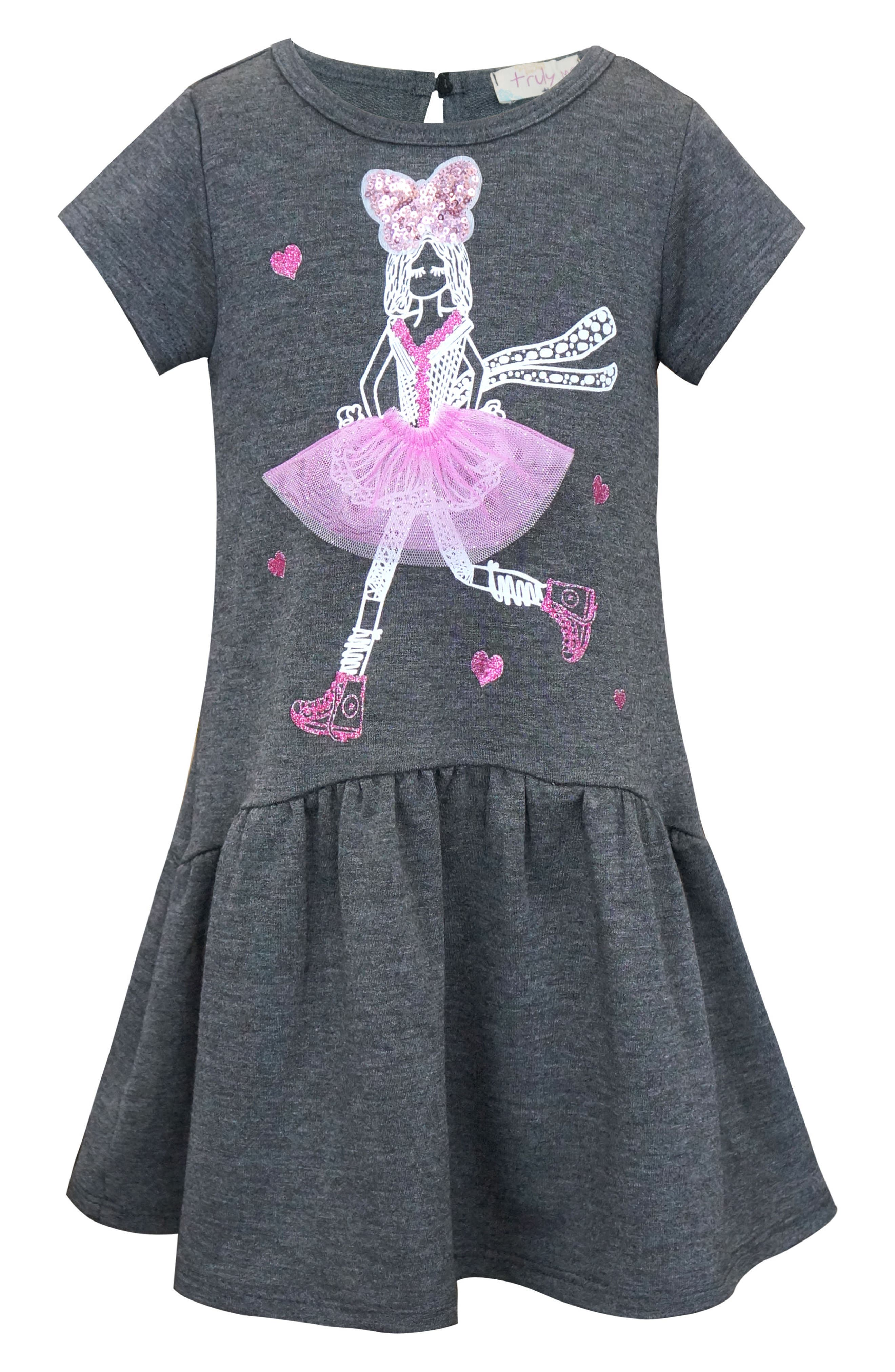 Dimensional Graphic Dress,                         Main,                         color, Dark Grey