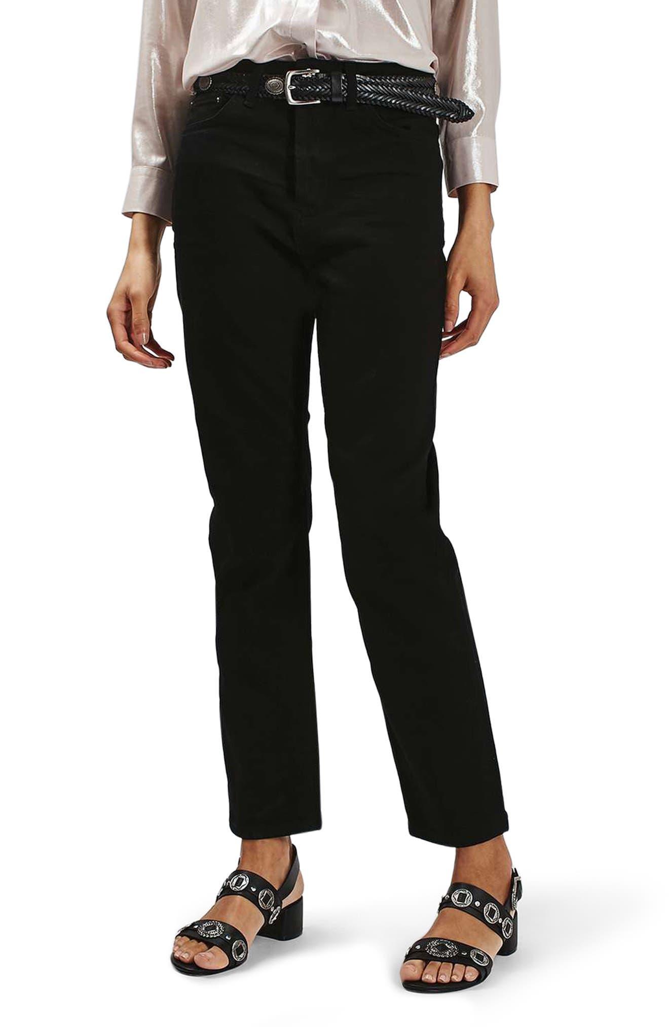 High Rise Straight Leg Crop Jeans,                             Main thumbnail 1, color,                             Black