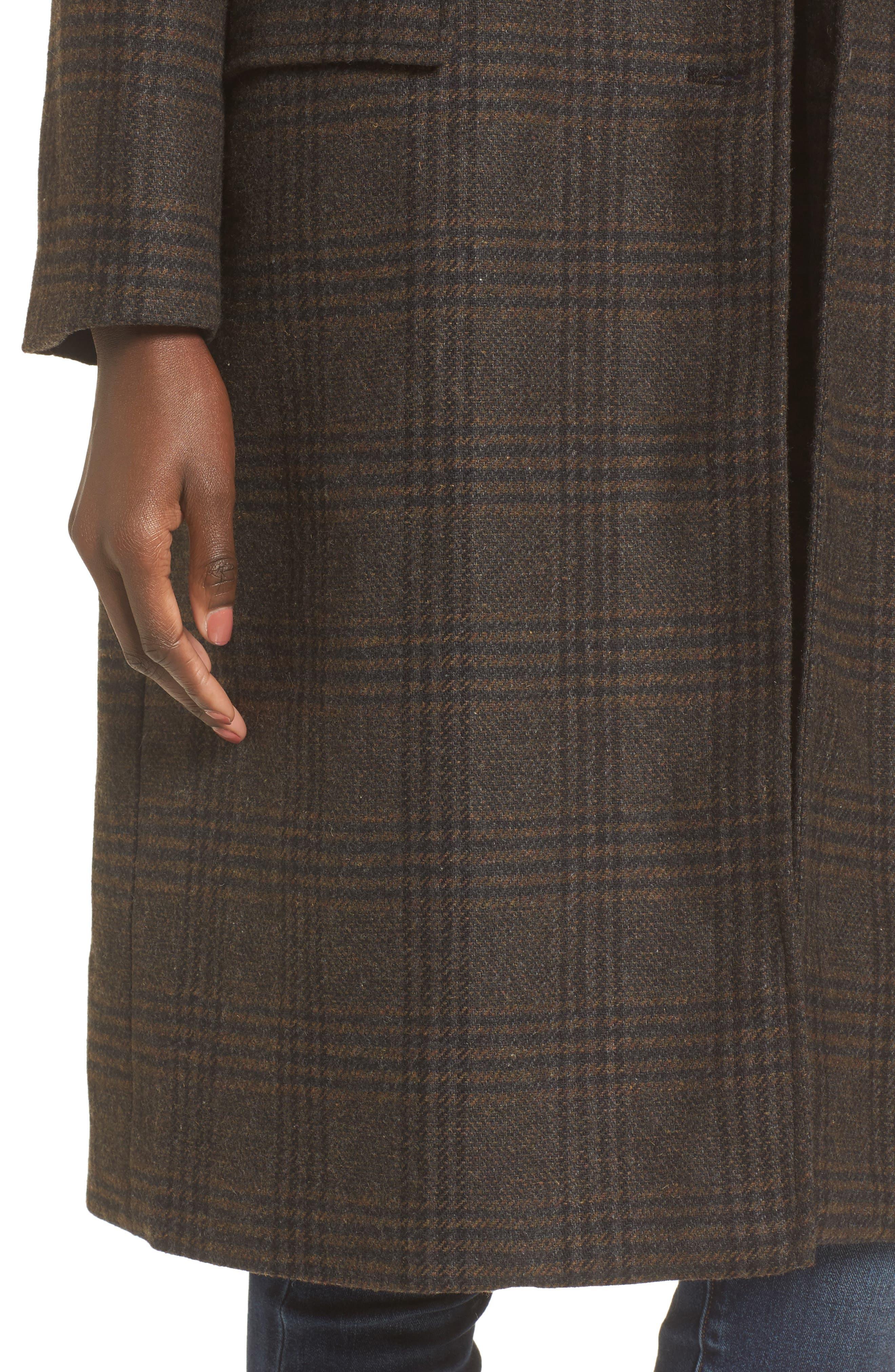 Menswear Coat,                             Alternate thumbnail 4, color,                             Brown Plaid