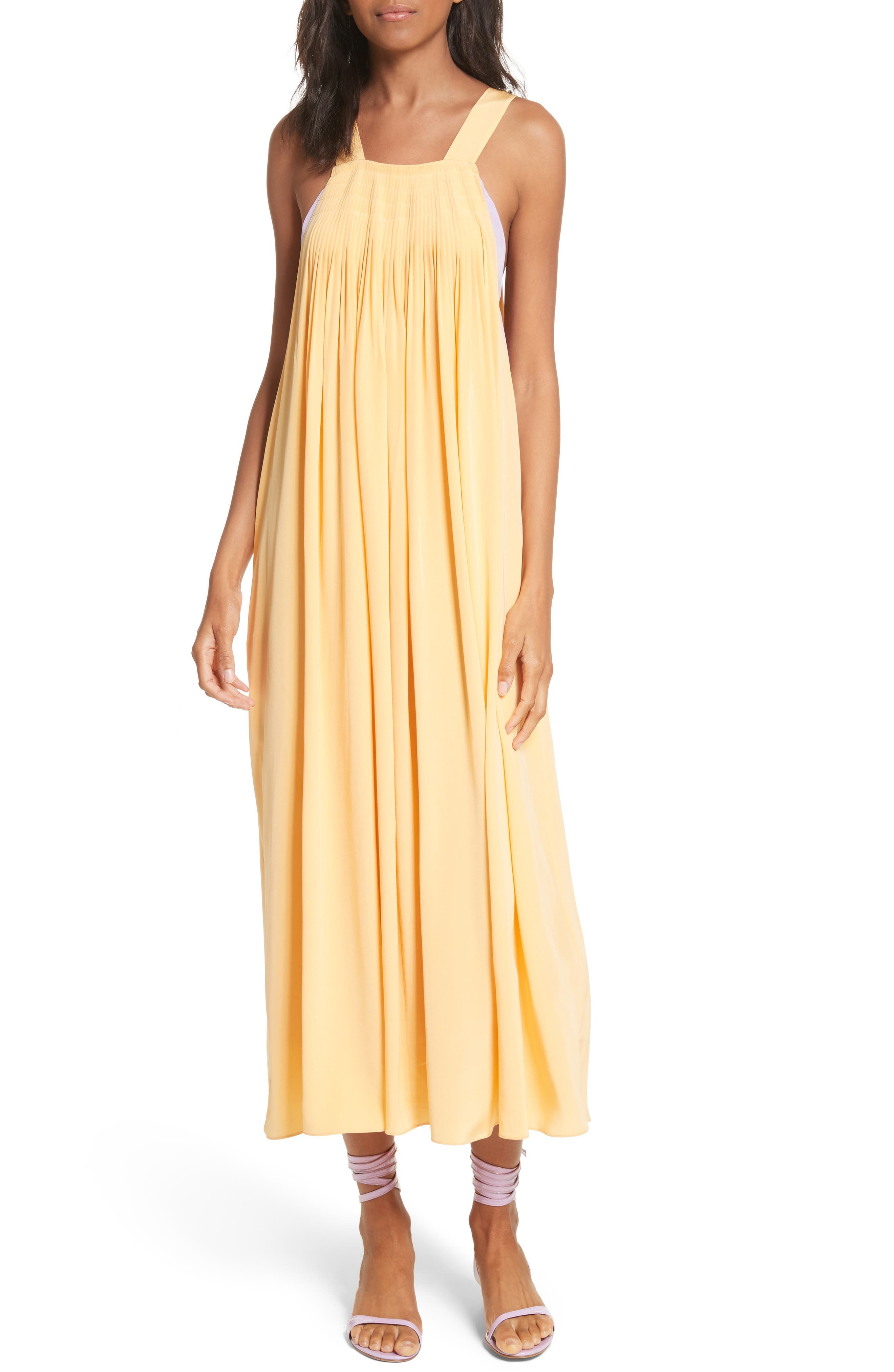 Silk Overall Dress,                         Main,                         color, Apricot