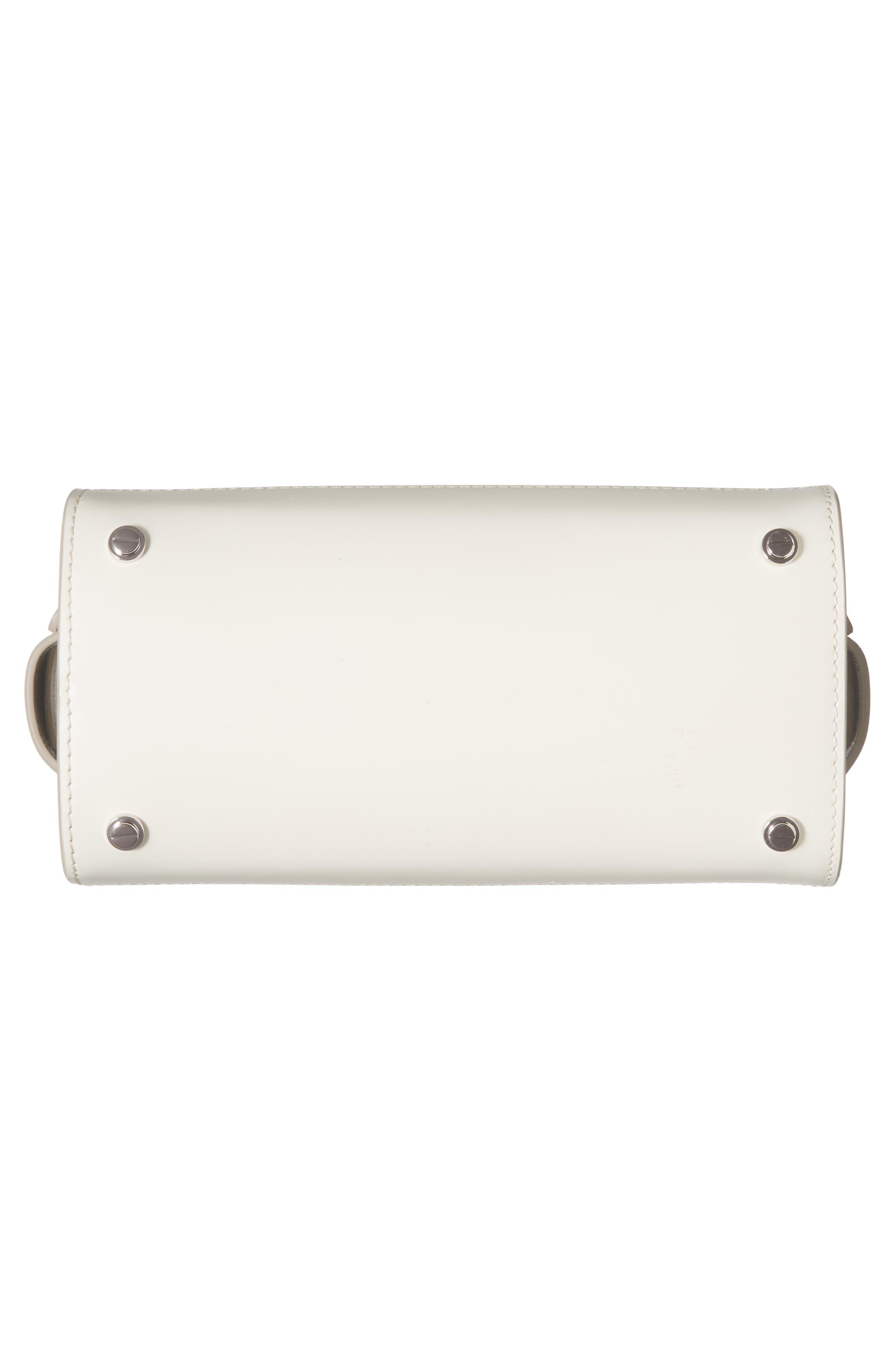 Mini Horizon Calfskin Leather Tote,                             Alternate thumbnail 6, color,                             Off White