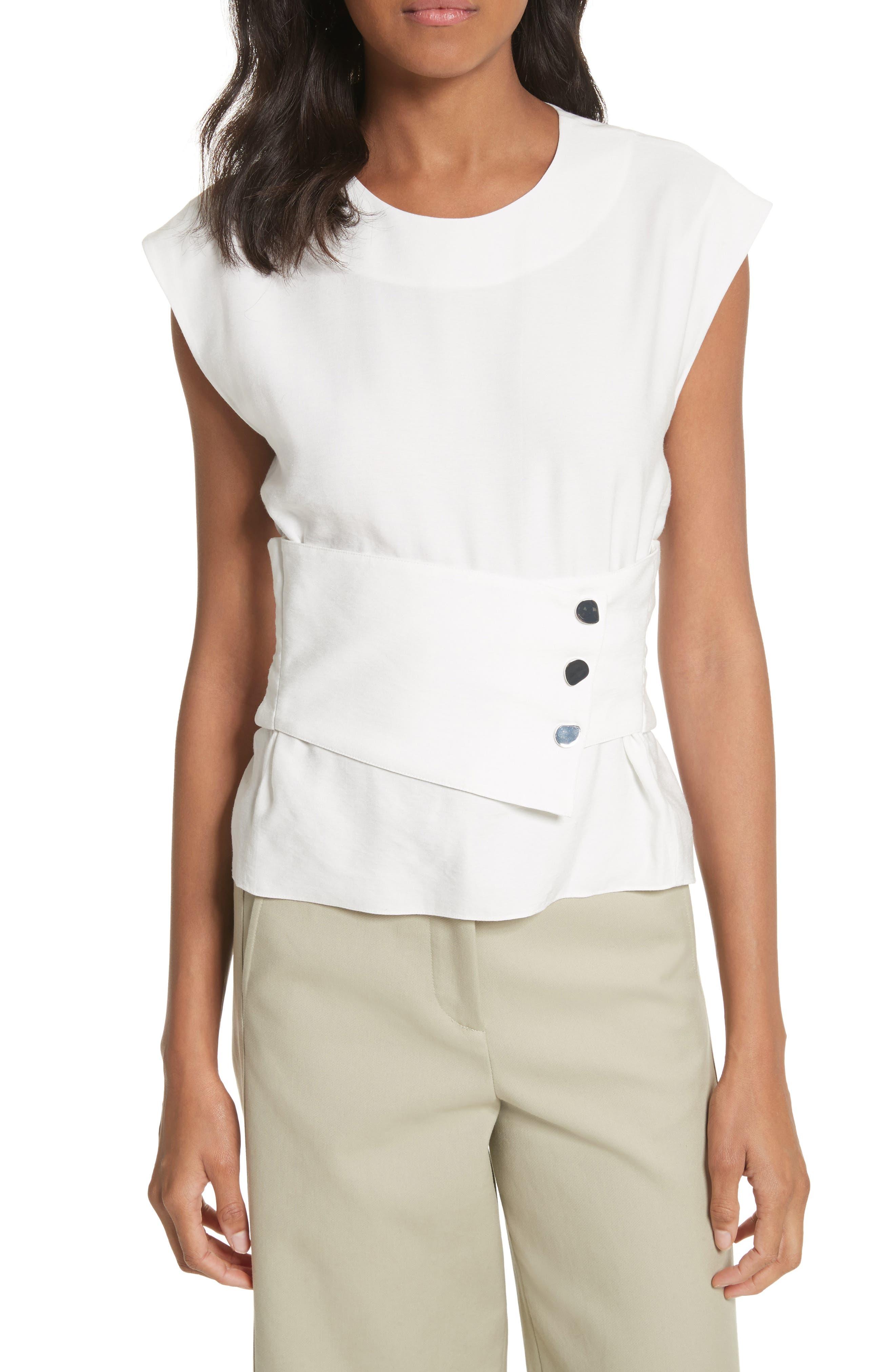 Sleeveless Corset Crop Top,                         Main,                         color, White