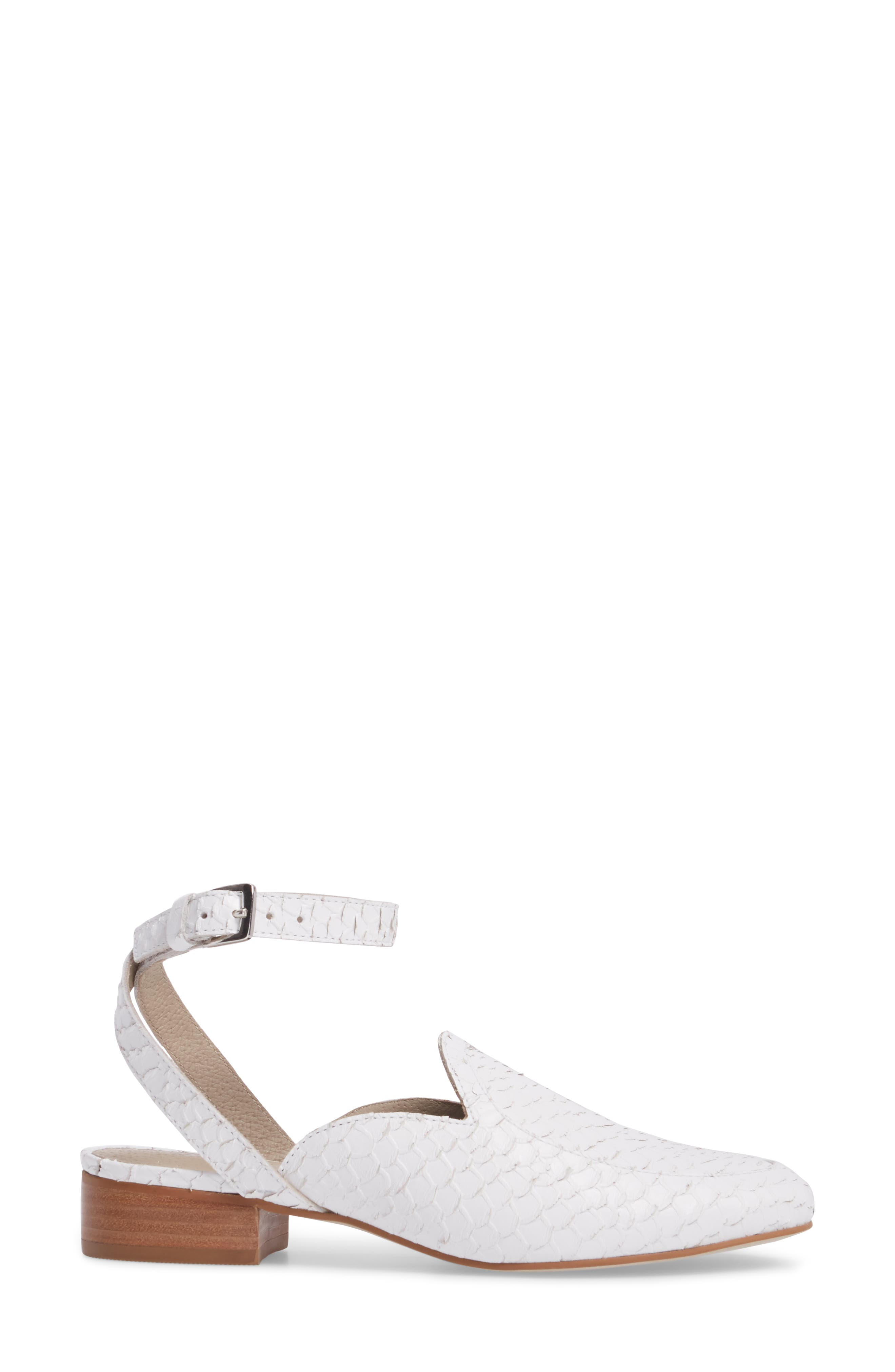 Half Moon Ankle Strap Loafer,                             Alternate thumbnail 3, color,                             White Leather