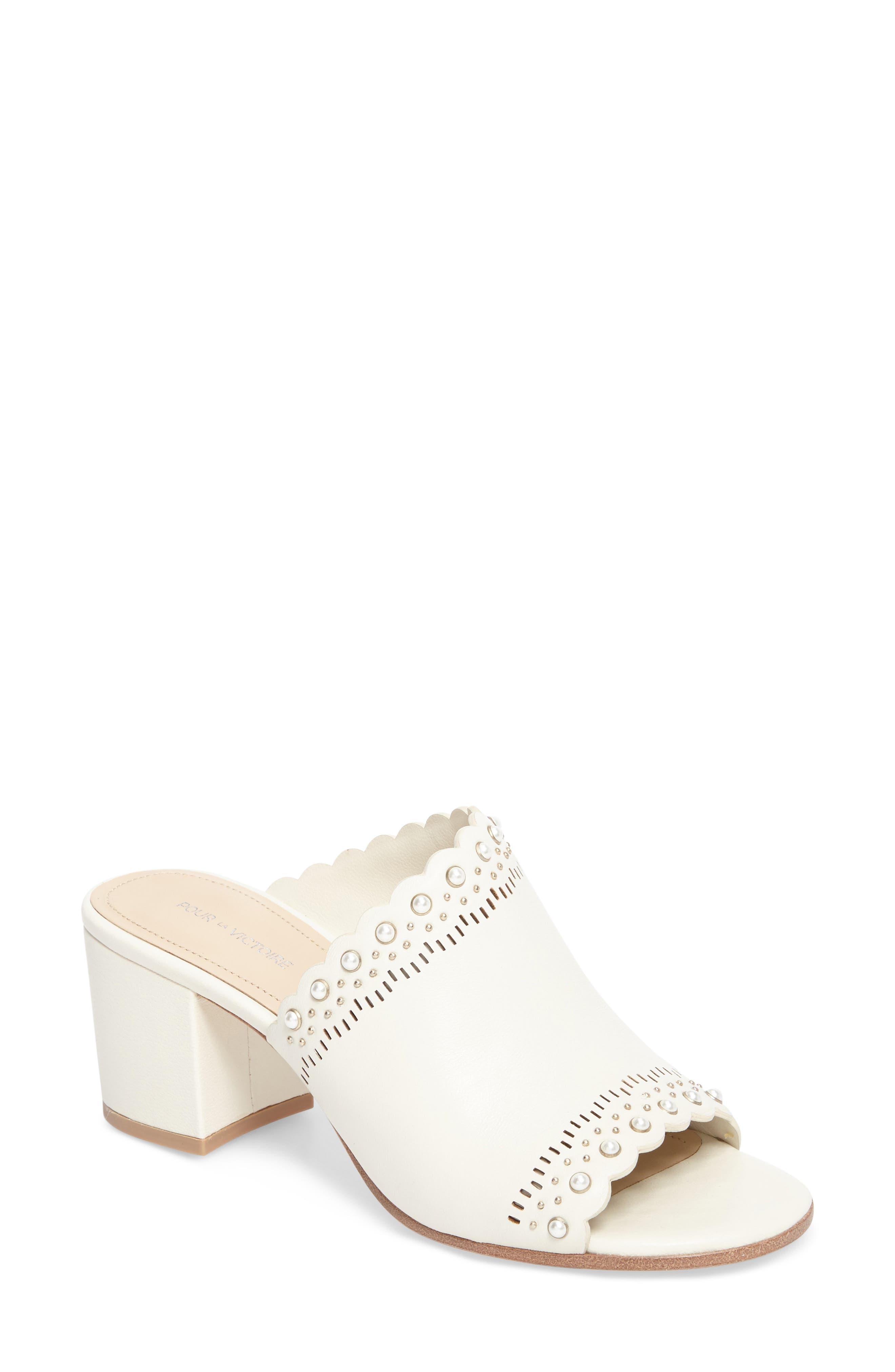 Amela Embellished Slide Sandal,                         Main,                         color, Bone Leather