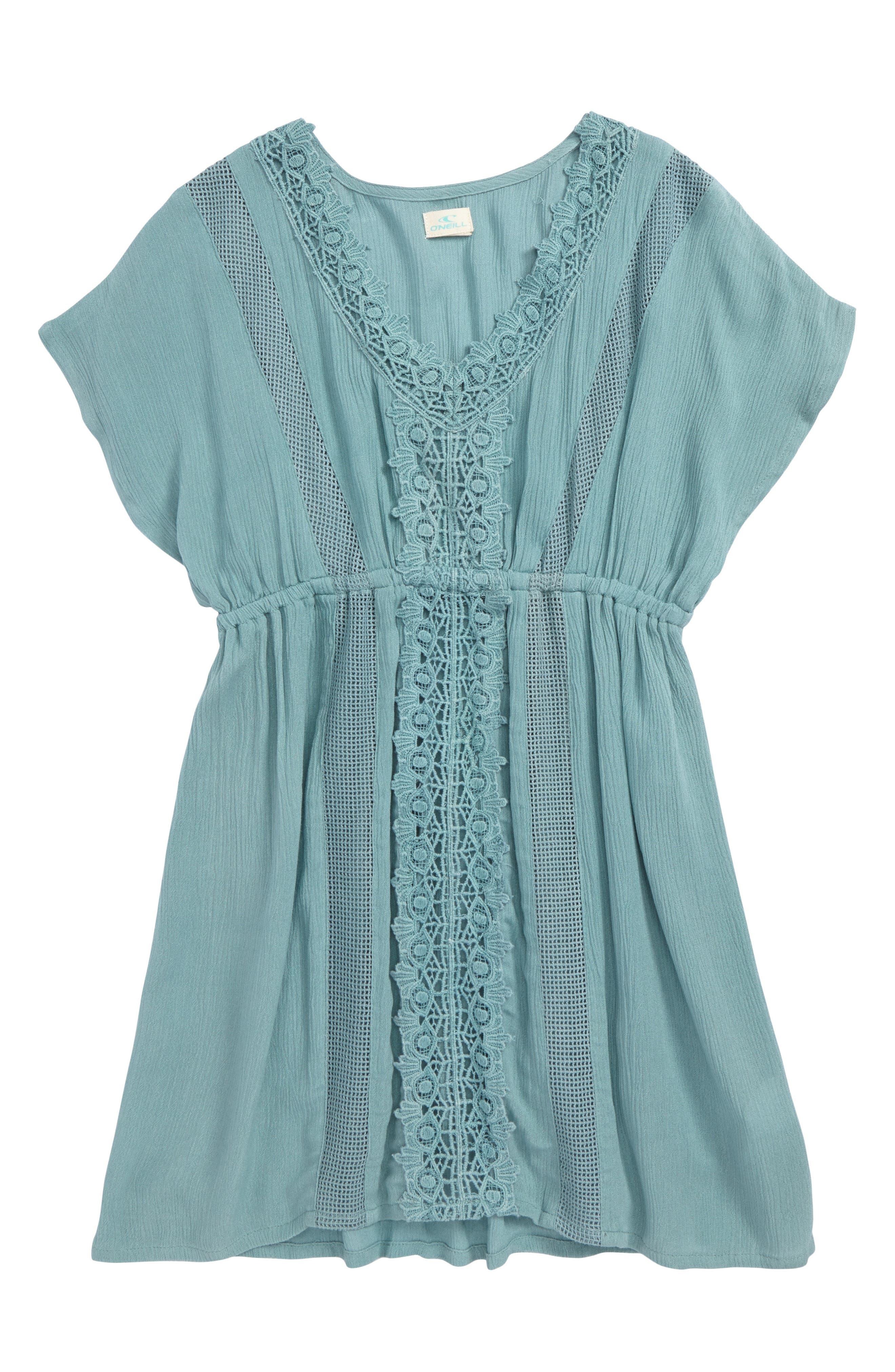 Kayla Crochet Cover-Up Dress,                         Main,                         color, Aqua Blue - Aqu