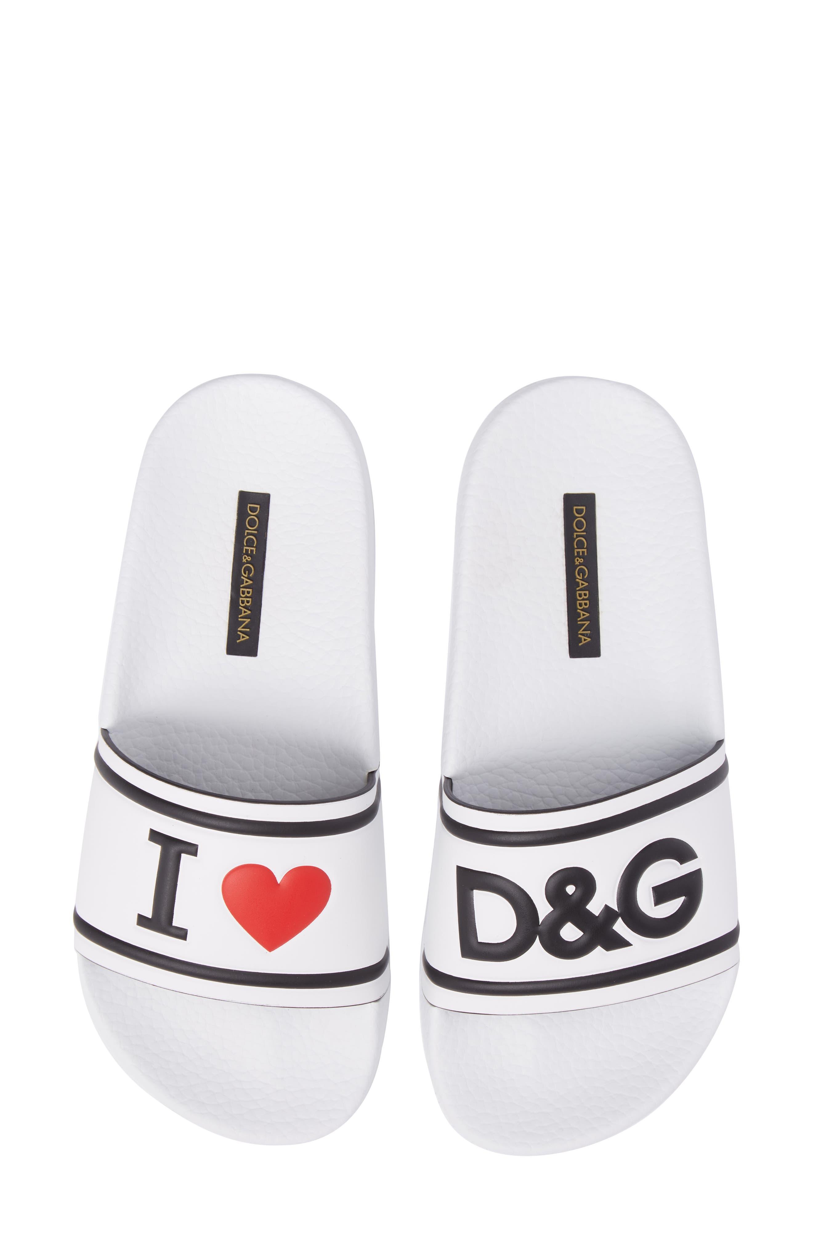 I Love DG Slide Sandal,                         Main,                         color, White