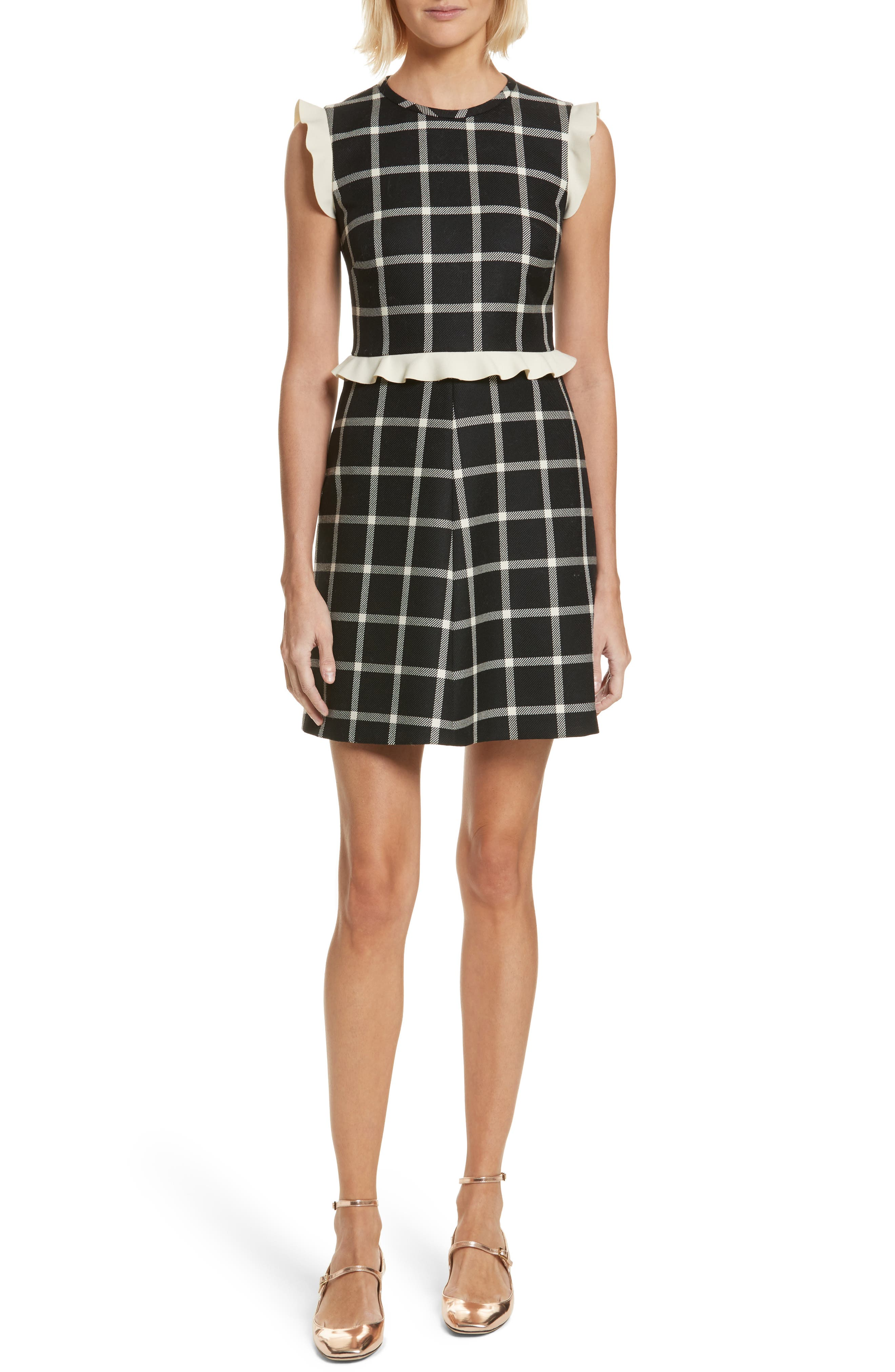 Main Image - RED Valentino Cavalry Ruffle Trim Wool Dress
