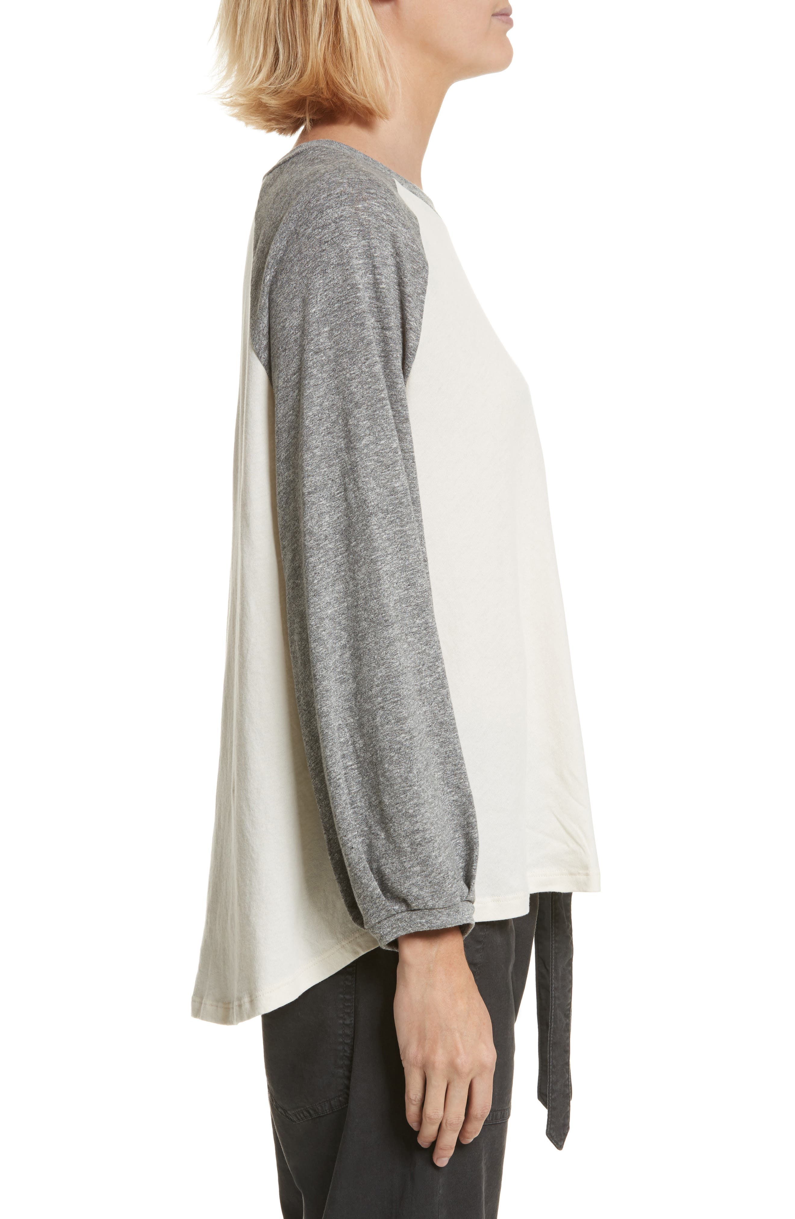 The Blouson Baseball Tee,                             Alternate thumbnail 3, color,                             Washed White With Heather Grey