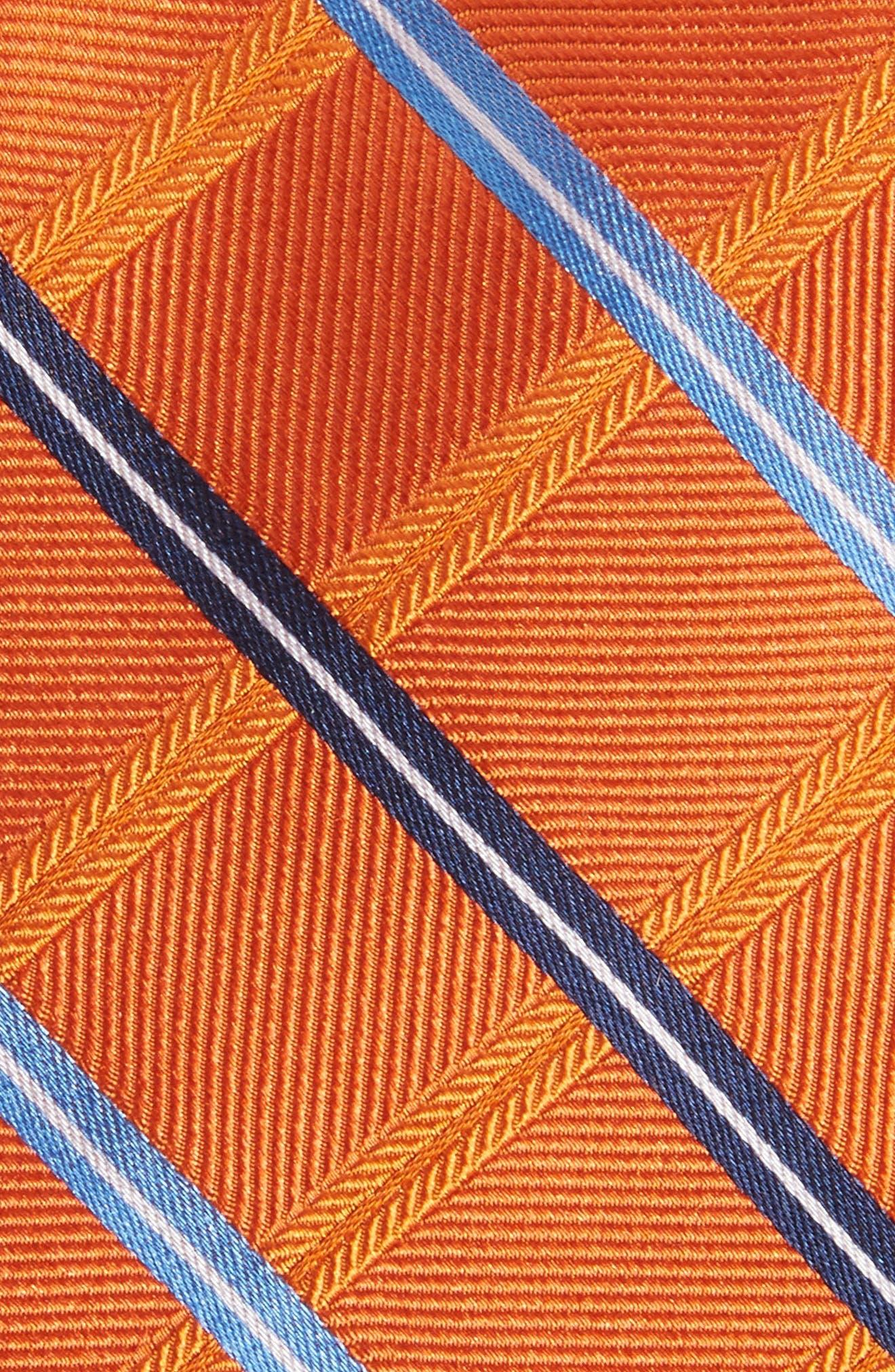 Grid Silk Tie,                             Alternate thumbnail 2, color,                             Orange