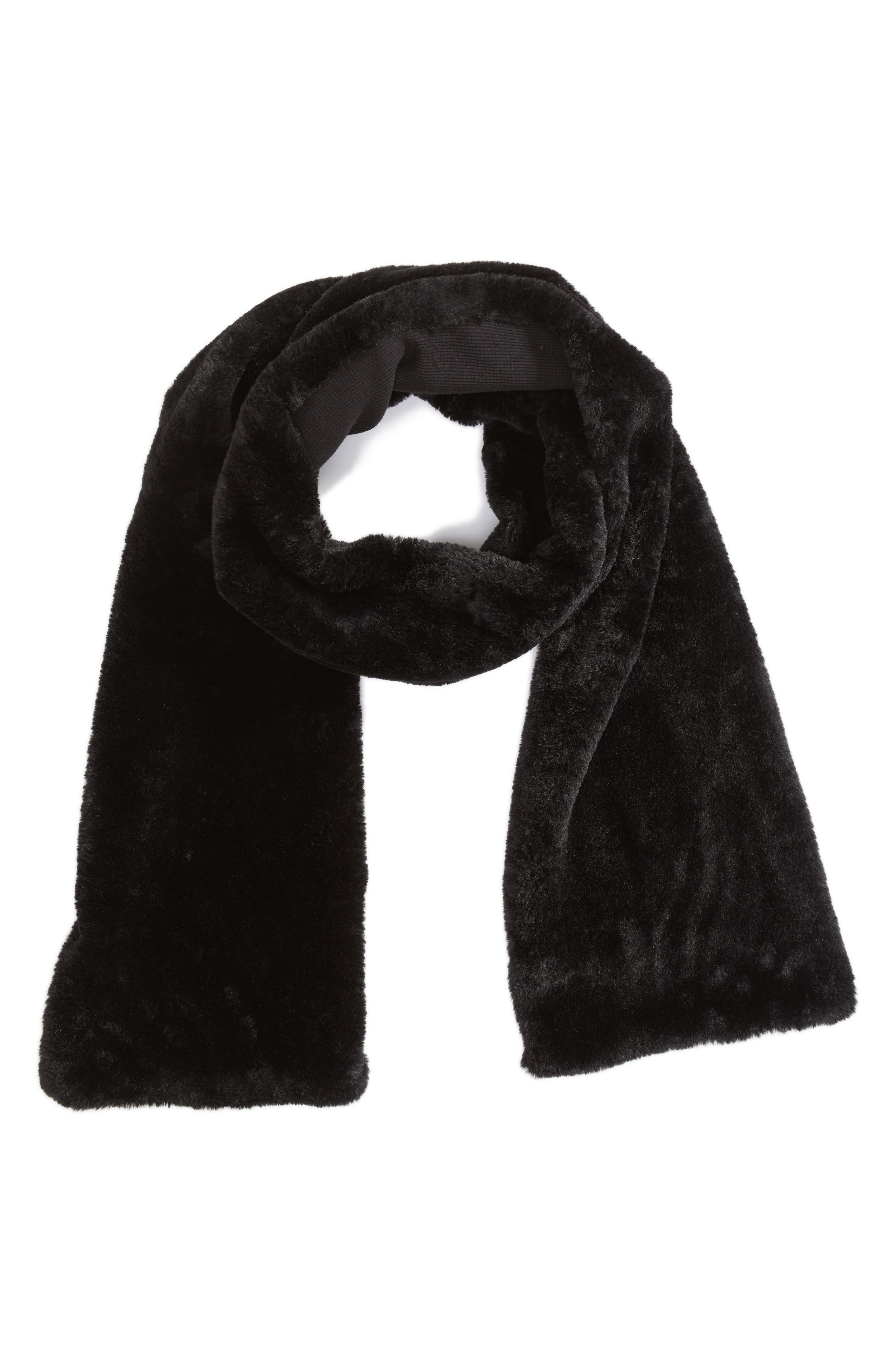 Faux Fur Long Scarf,                         Main,                         color, Black/ Black
