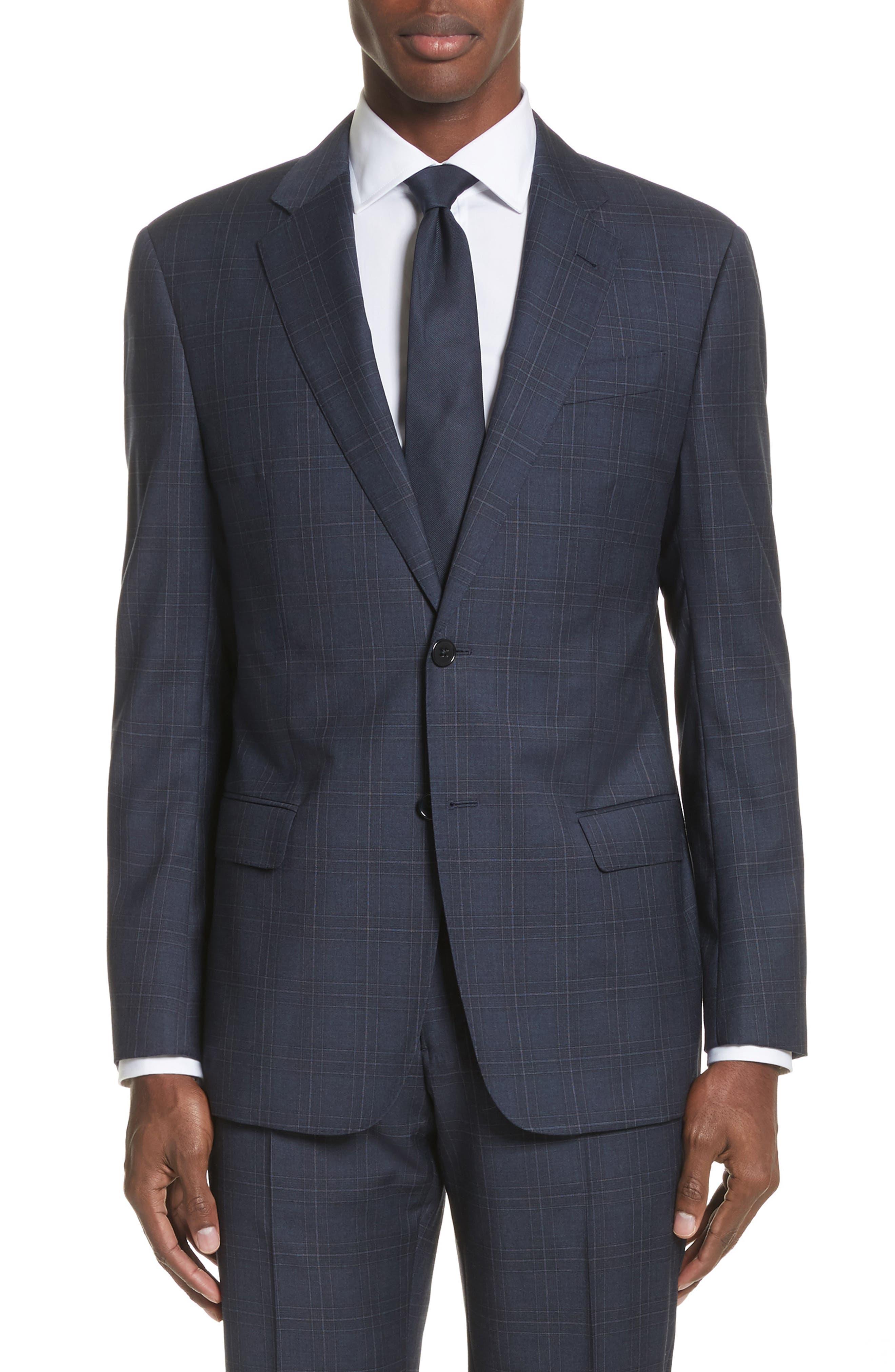 G Line Trim Fit Plaid Wool Suit,                             Alternate thumbnail 5, color,                             Navy